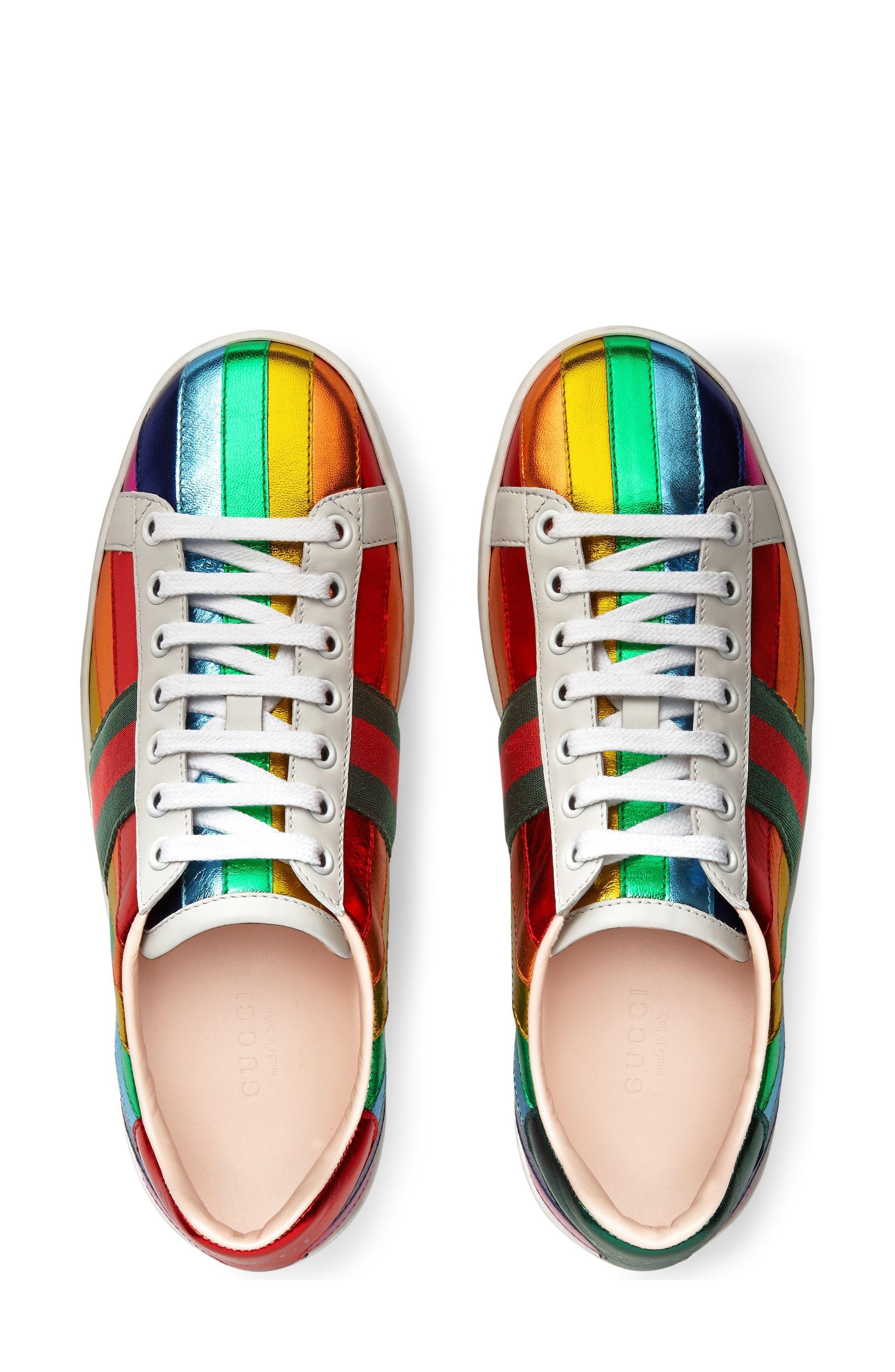 Alternate Image 3  - Gucci New Ace Rainbow Sneaker (Women)