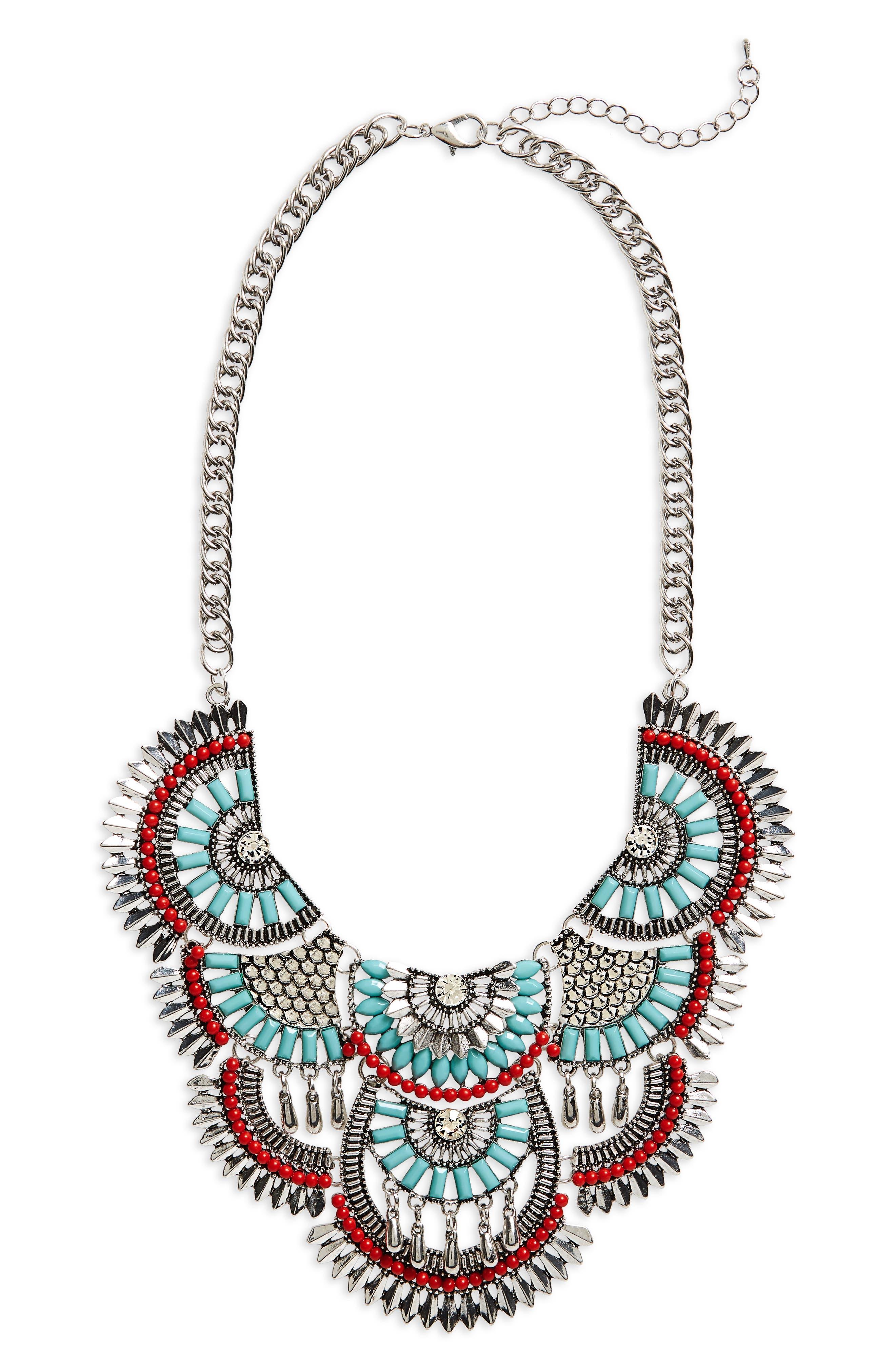 Cara Crystal Chain Bib Necklace