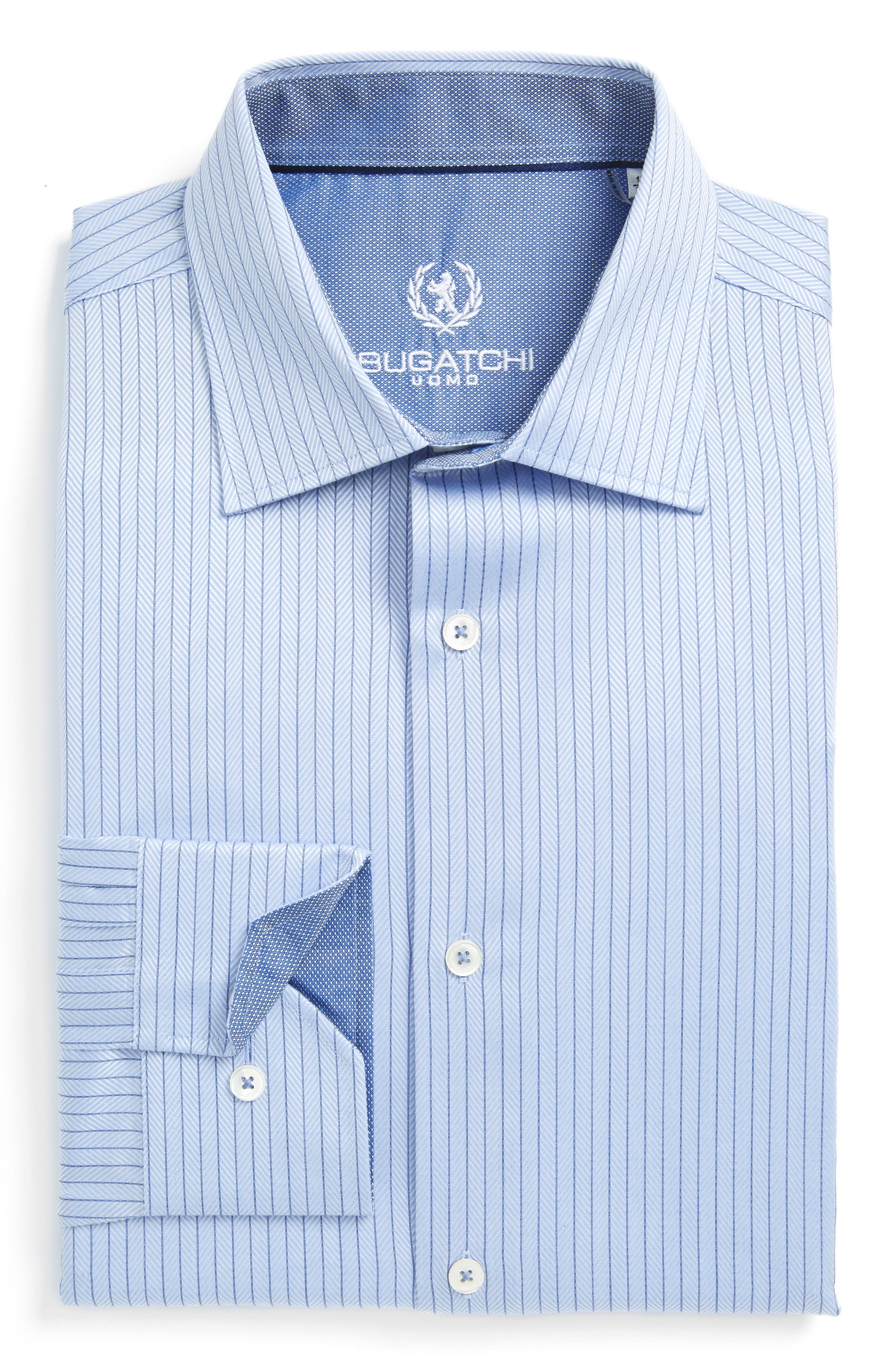 Bugatchi Trim Fit Herringbone Dress Shirt