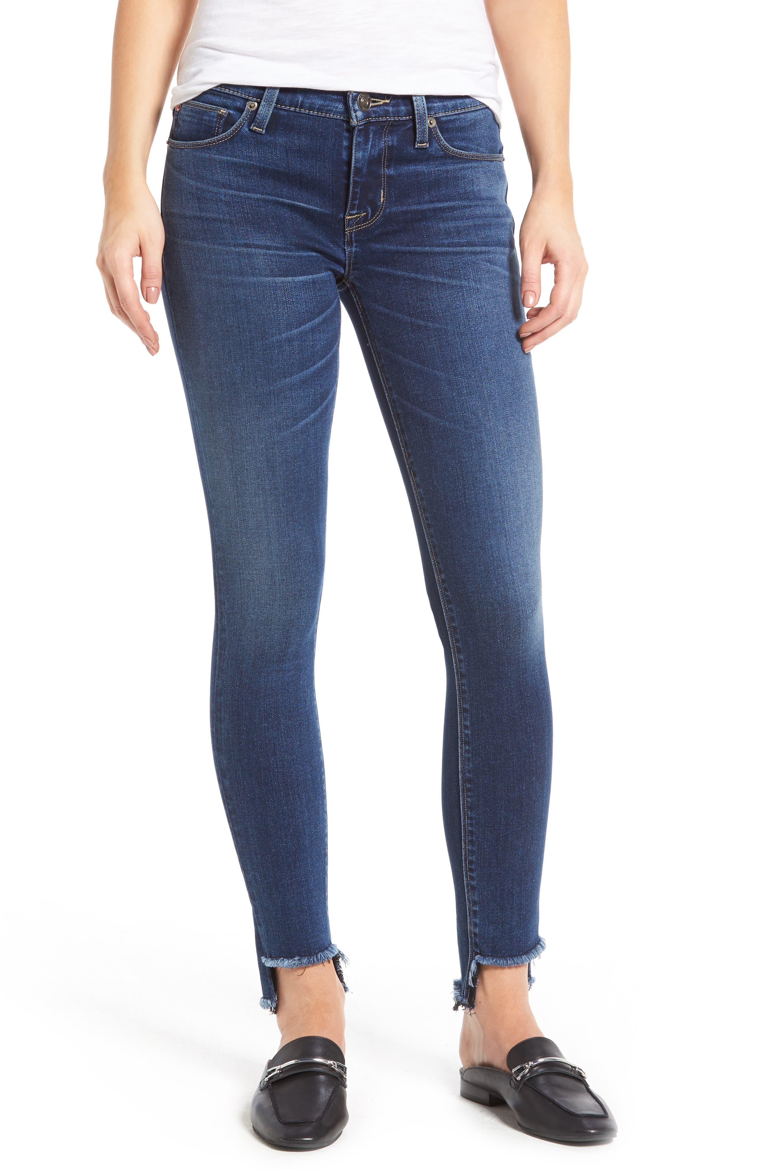 Main Image - Hudson Jeans Colette Step Hem Skinny Jeans (Backbone)