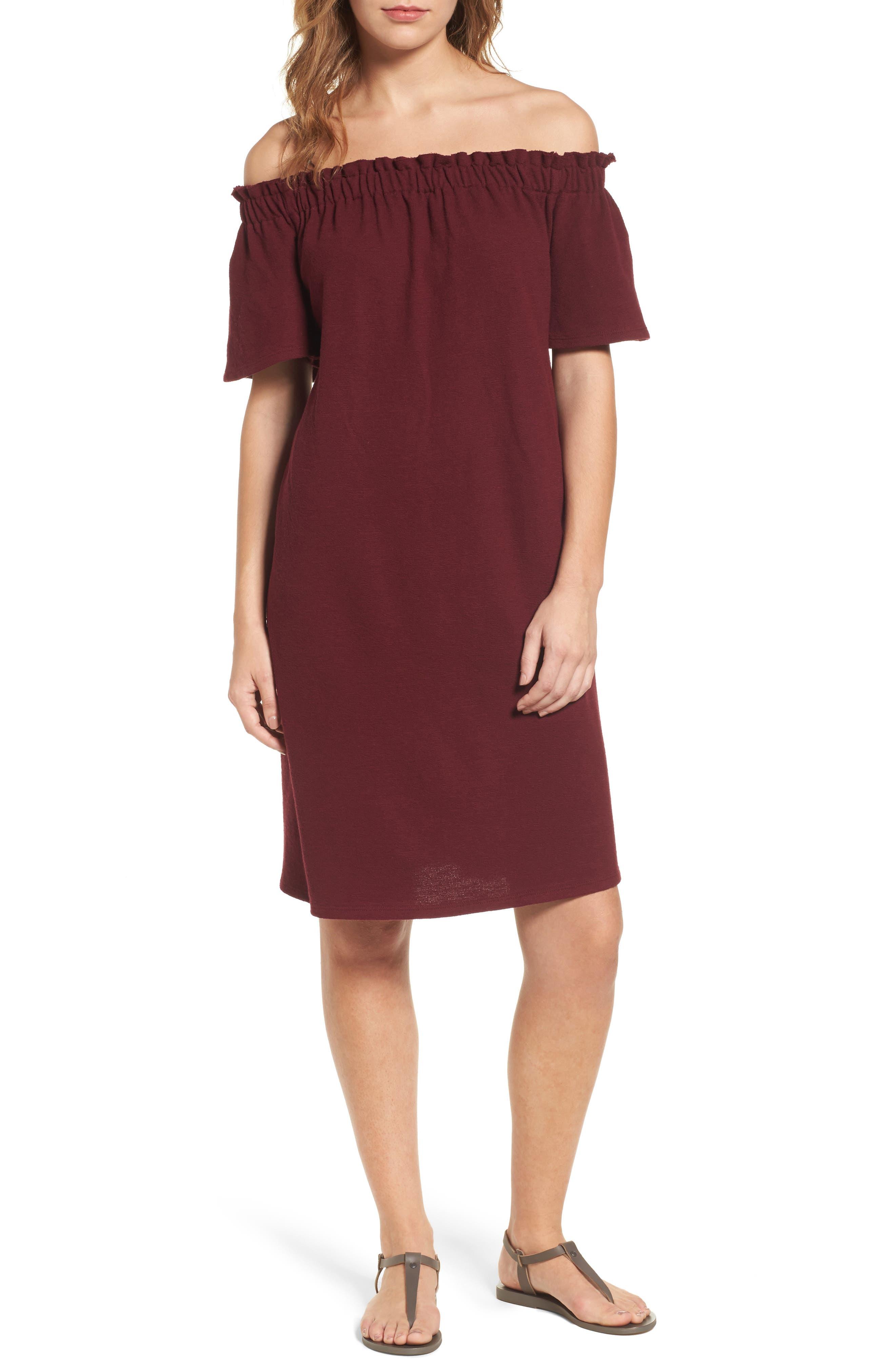 Caslon® Off the Shoulder Slub Knit Shift Dress (Regular & Petite)