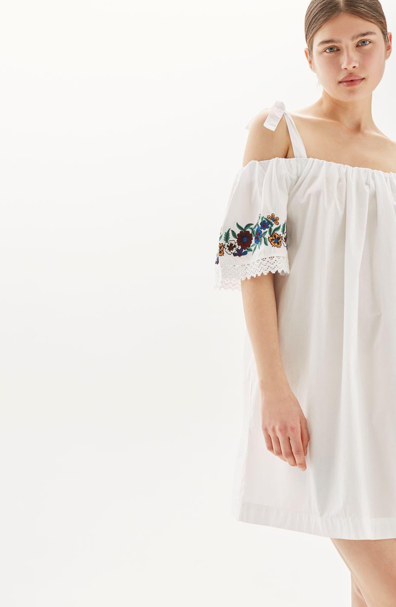 Alternate Image 4  - Topshop Bardot Embroidered Dress
