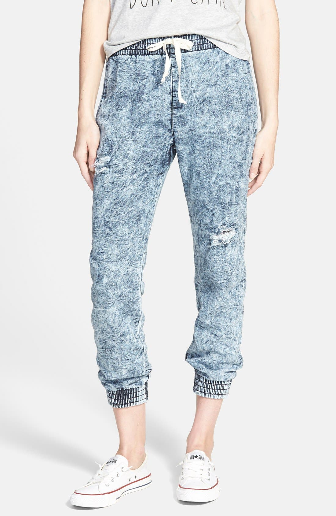 Alternate Image 1 Selected - SP Black Destroyed Denim Jogger Pants (Juniors)