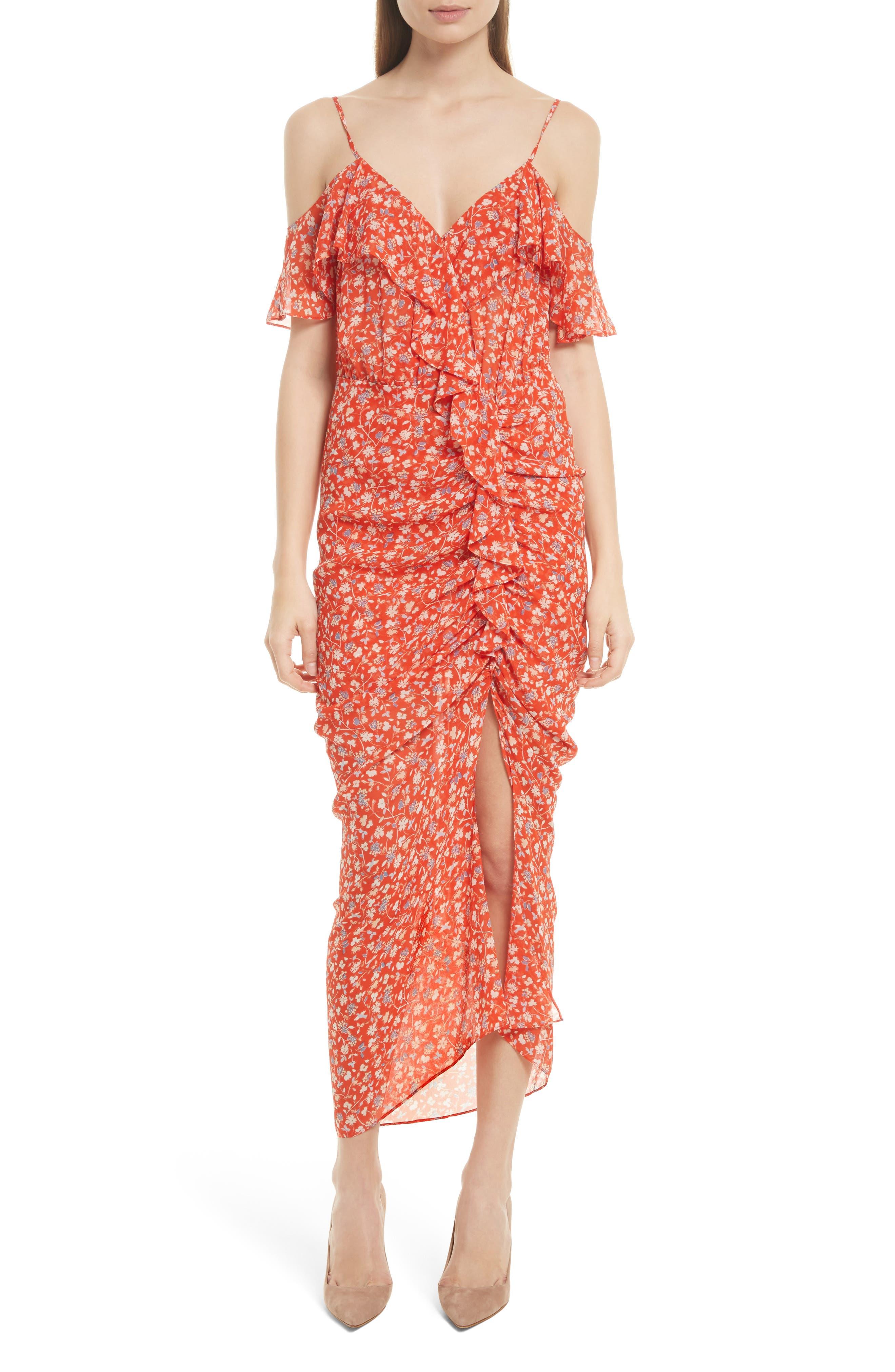 VERONICA BEARD Marilyn Print Silk Cold Shoulder Dress