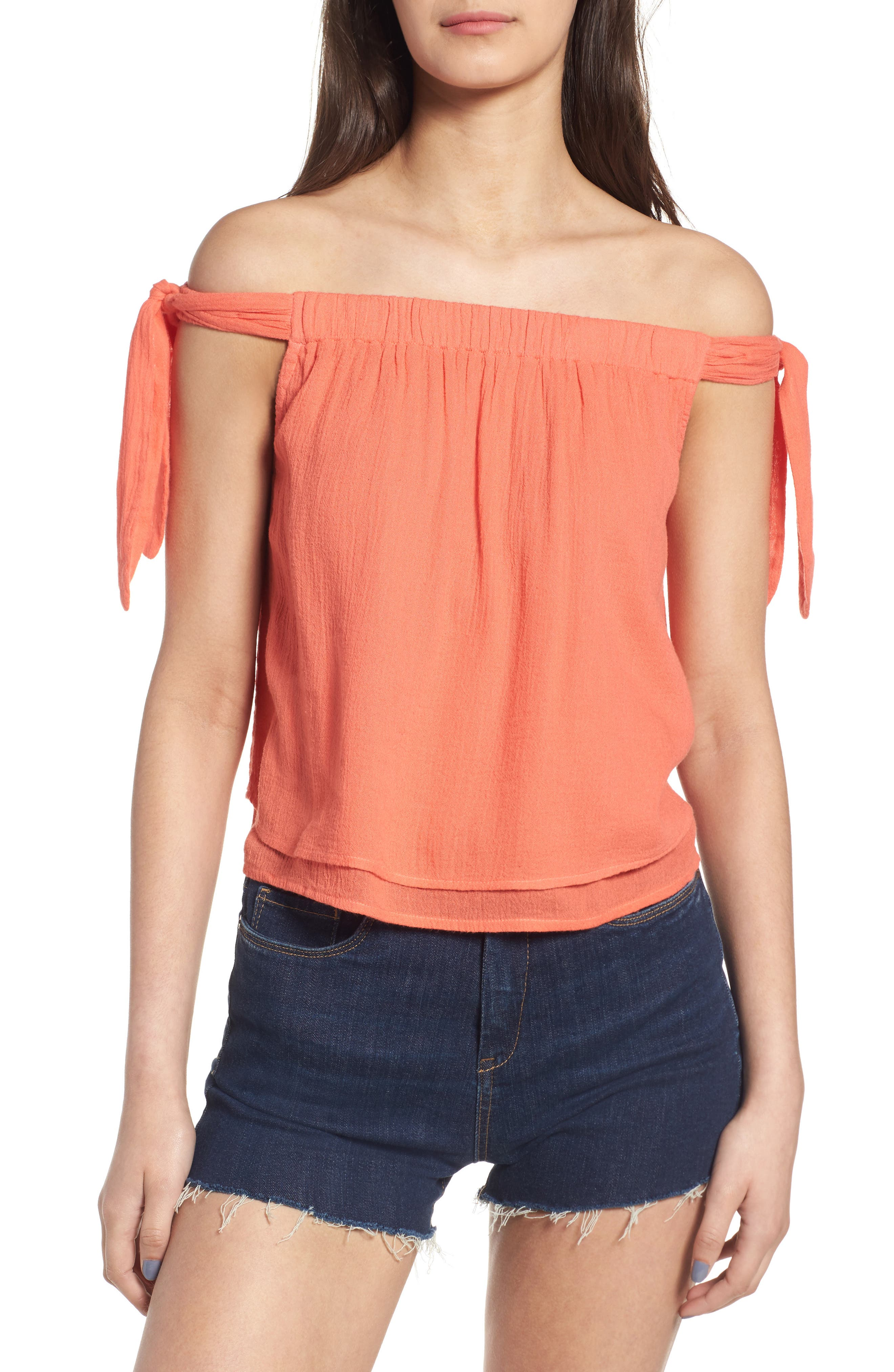 Splendid Off the Shoulder Gauze Top
