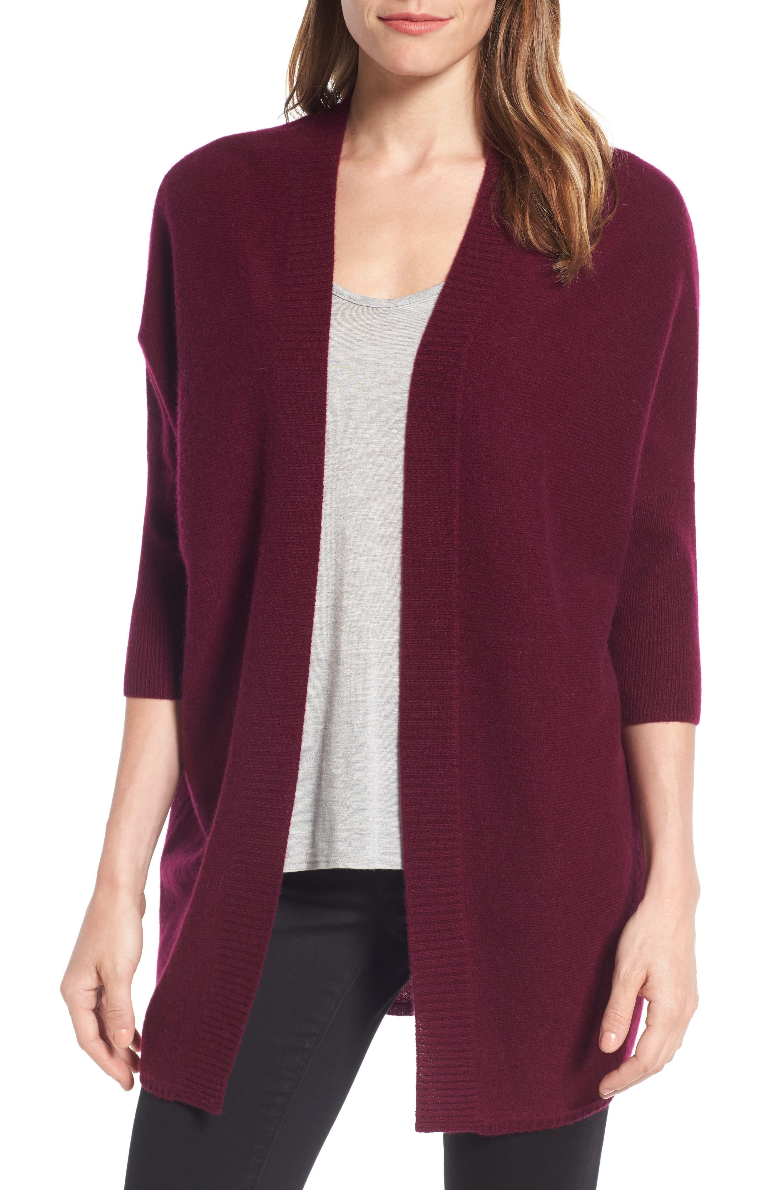 Halogen® Three-Quarter Sleeve Cashmere Cardigan