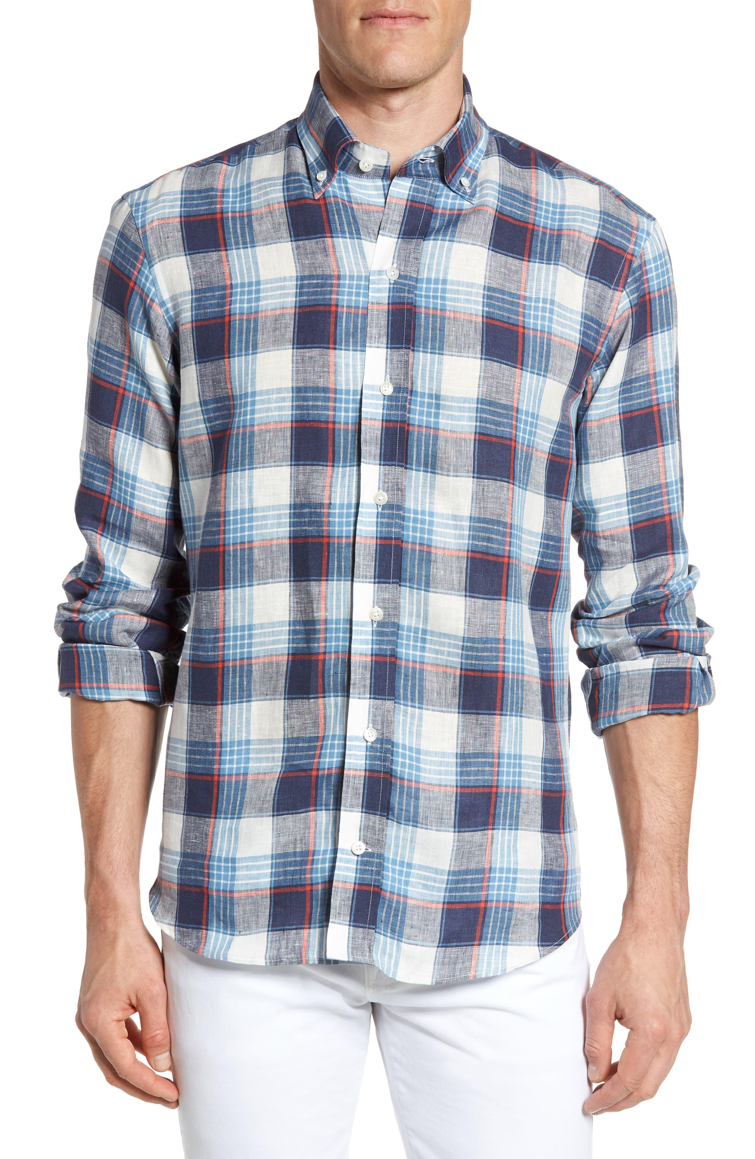 Ledbury The Clarendon Trim Fit Plaid Linen Sport Shirt