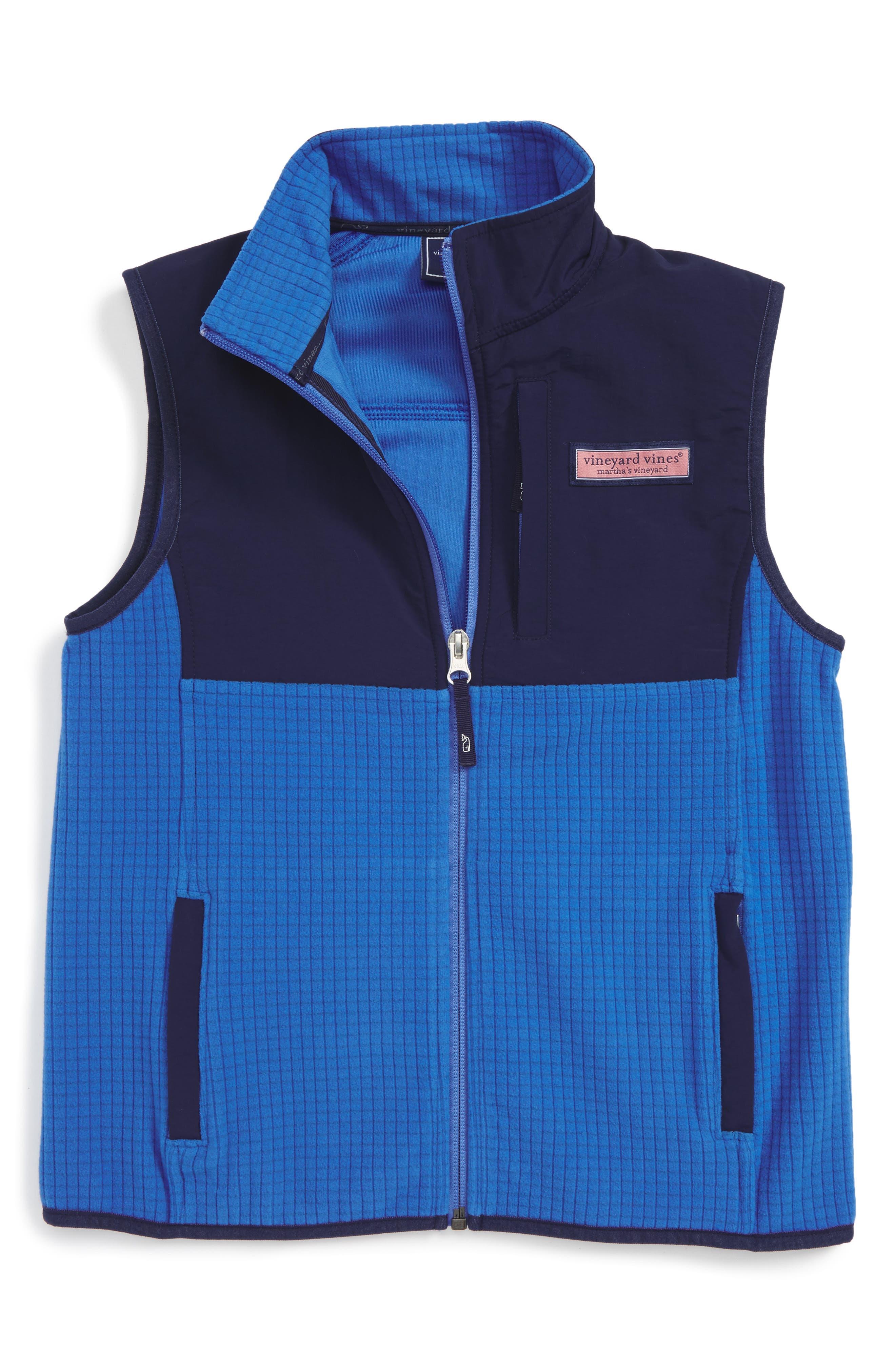 Vineyard Vines Grid Fleece Vest (Big Boys)