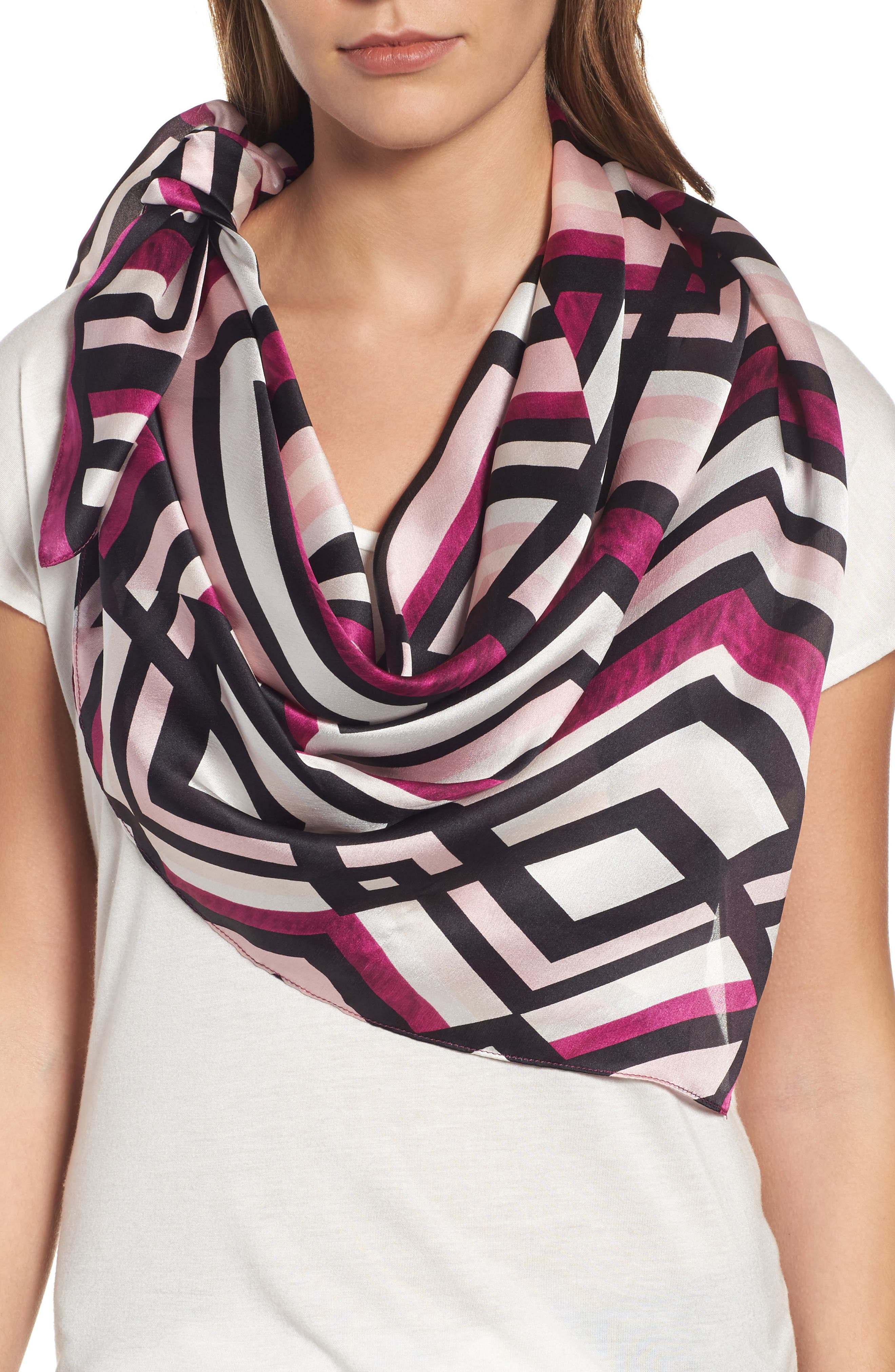 Halogen® Painted Chevron Silk Scarf
