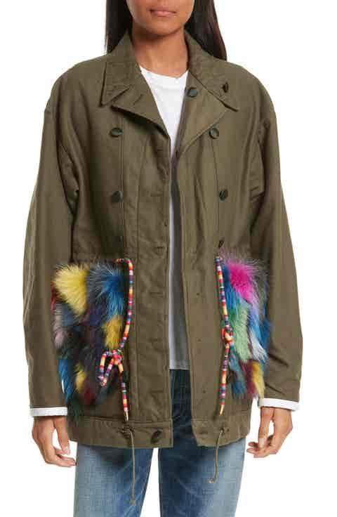 Harvey Faircloth Reversible Vintage Army Coat with Genuine Fox Fur Trim