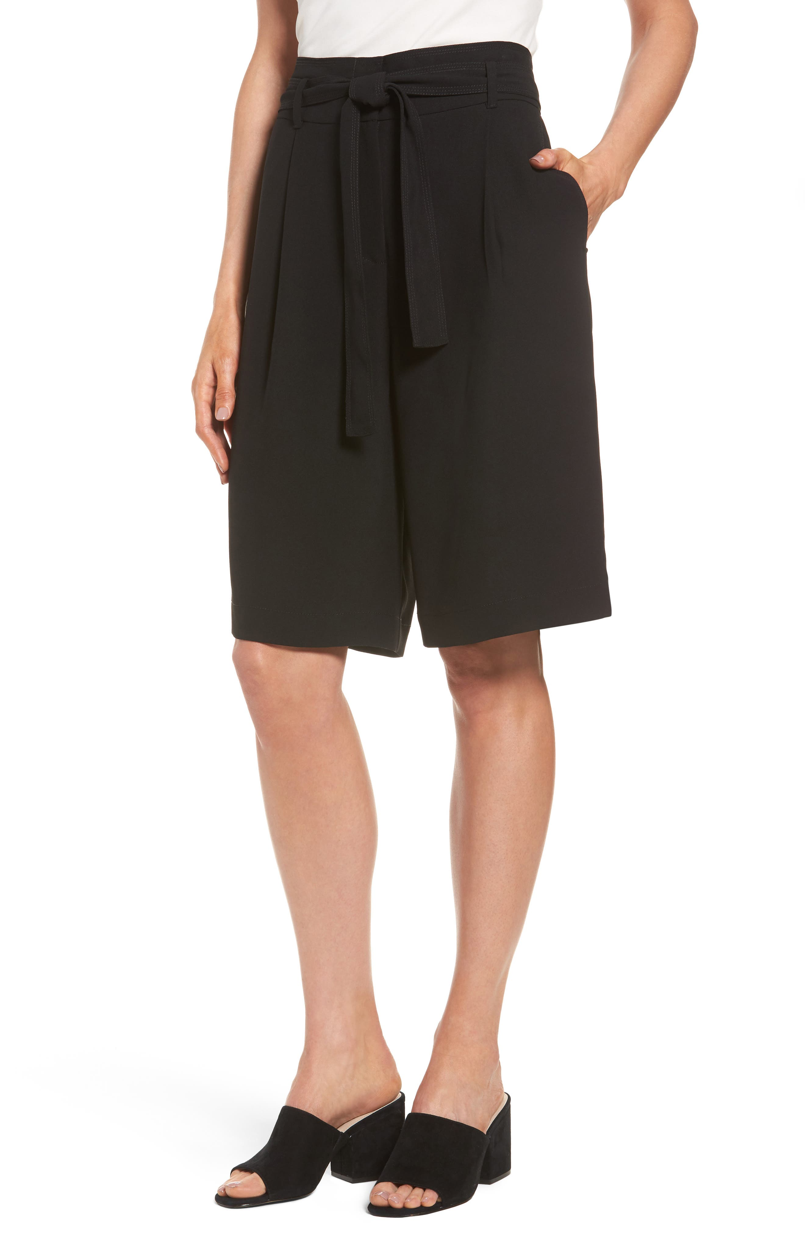 Halogen® Belted Wide Leg Shorts (Regular & Petite)