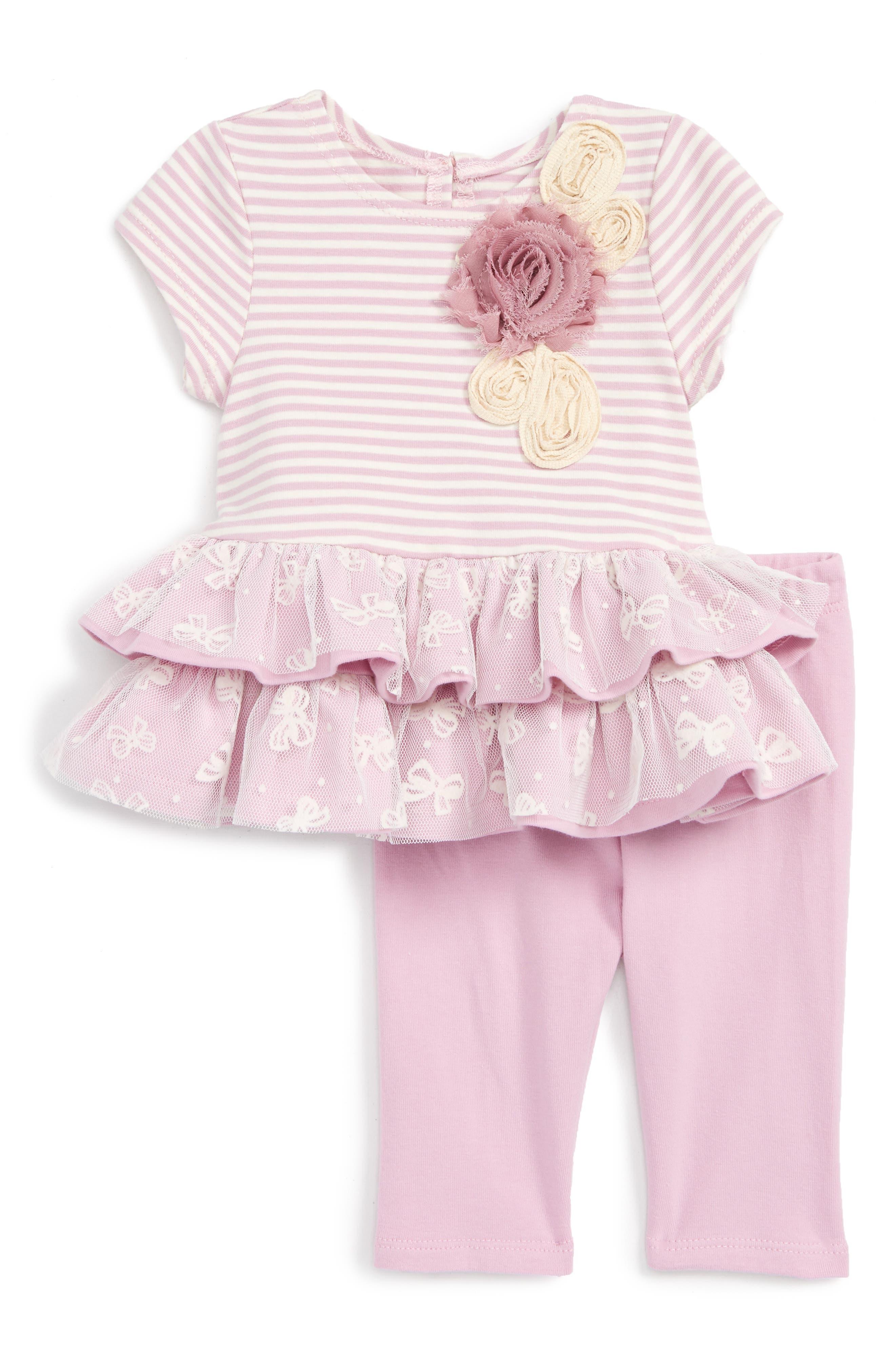 Pippa & Julie Stripe Dress & Leggings Set (Baby Girls)