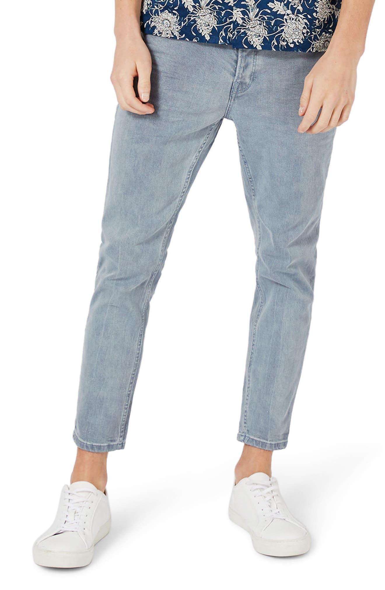 Topman Stretch Slim Fit Crop Jeans