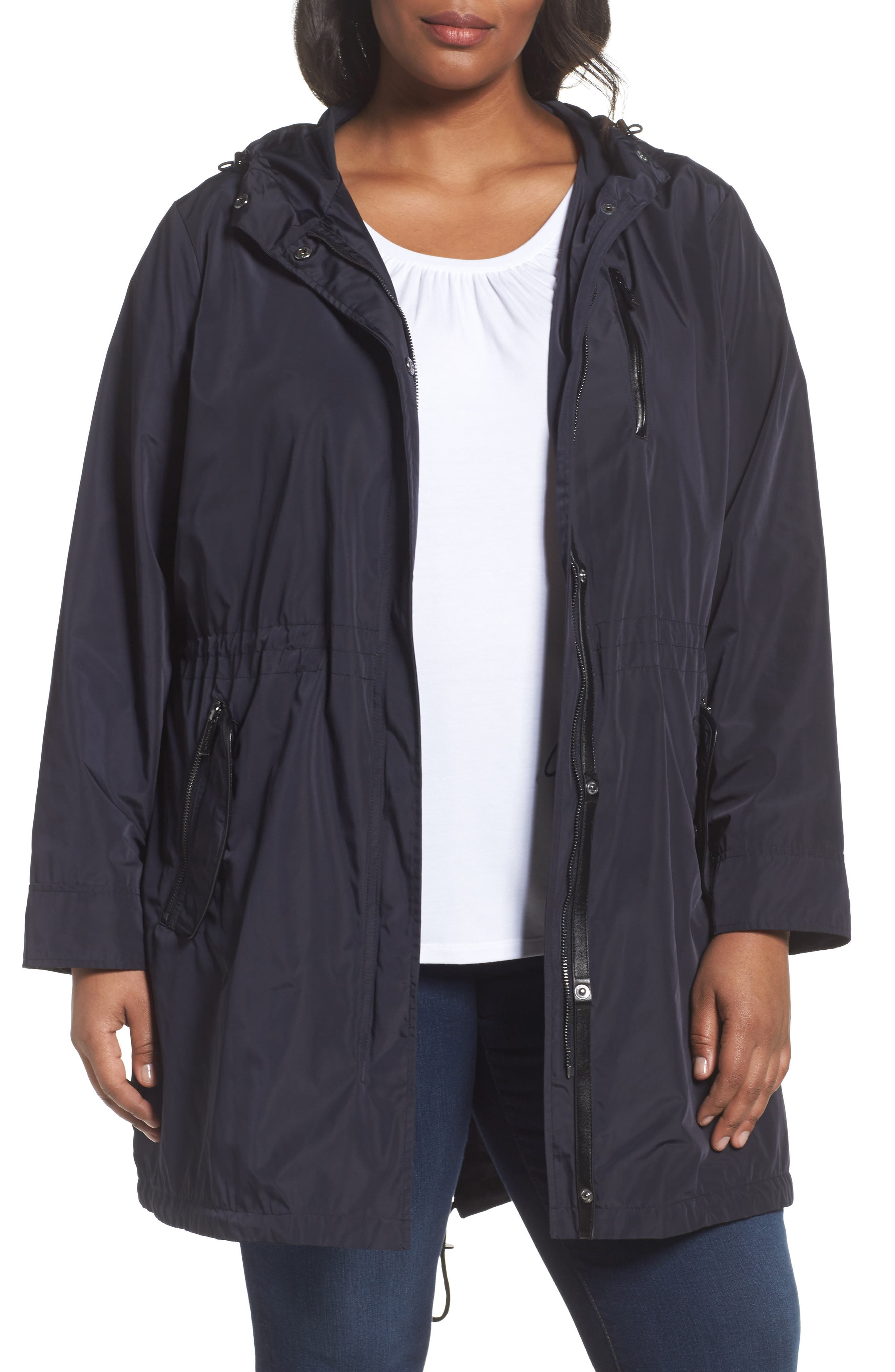 MICHAEL Michael Kors Hooded Drawstring Coat (Plus Size)