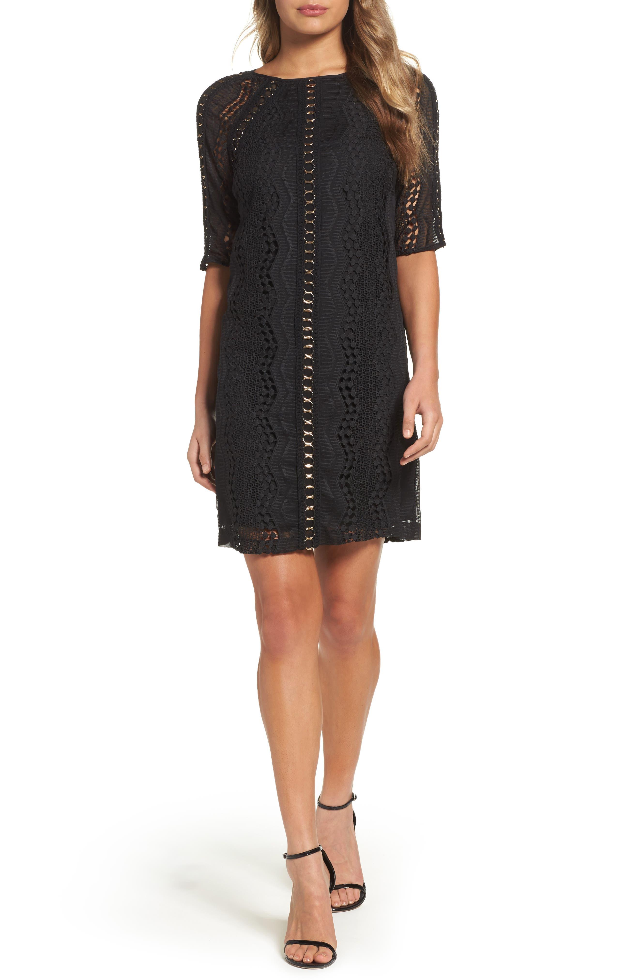 Badgley Mischka Macramé A-Line Dress