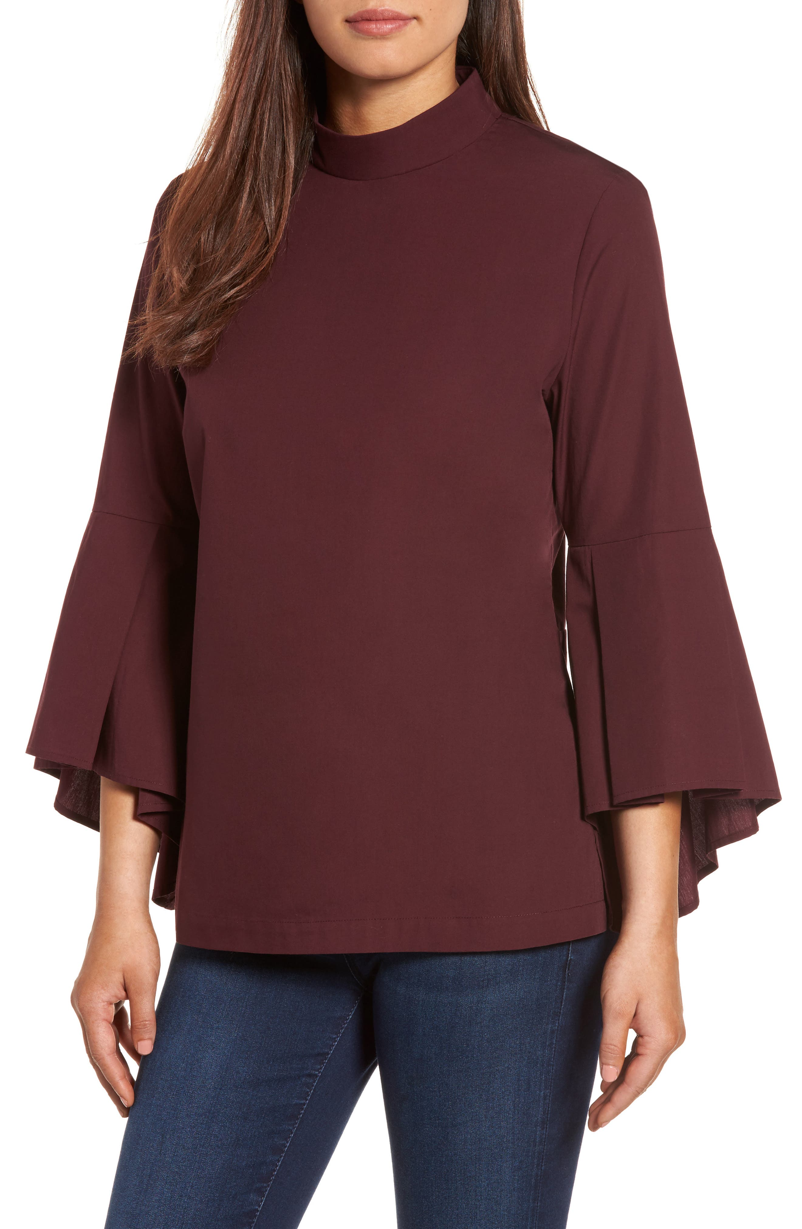 Pleione Ruffle Sleeve Poplin Shirt (Regular & Petite)