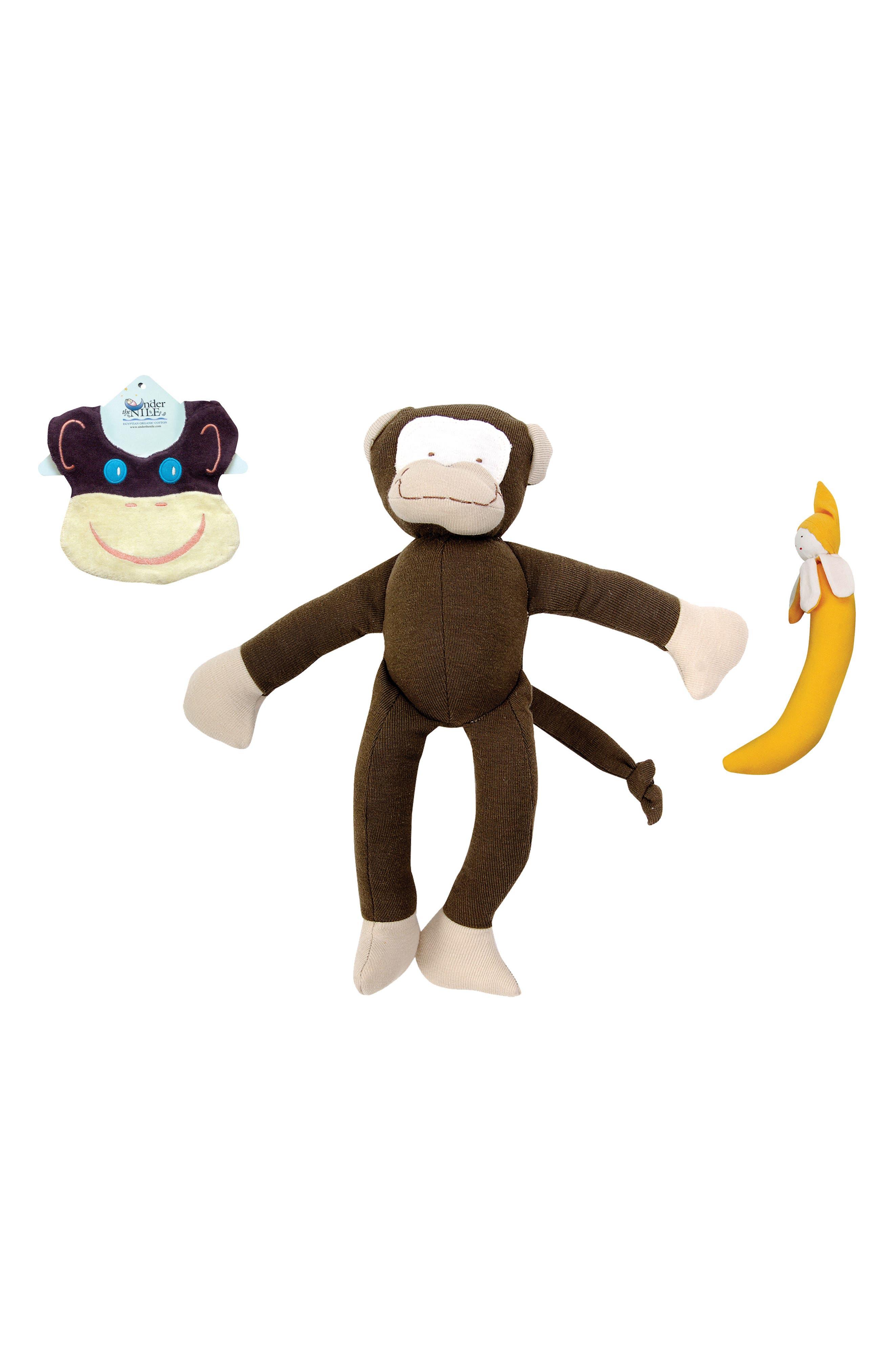 Under the Nile 3-Piece Monkey Bib, Stuffed Animal and Stuffed Banana Set