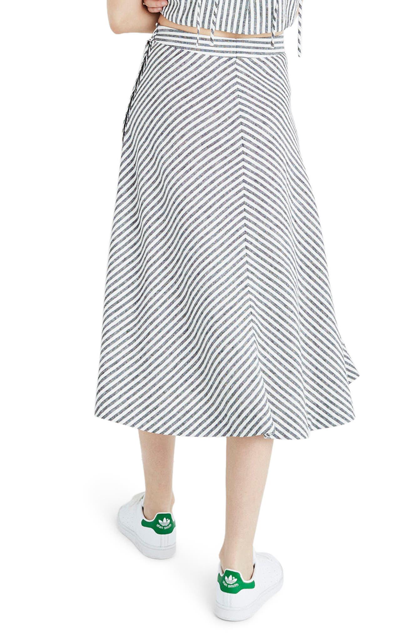 Alternate Image 2  - Madewell Stripe Side Button Midi Skirt