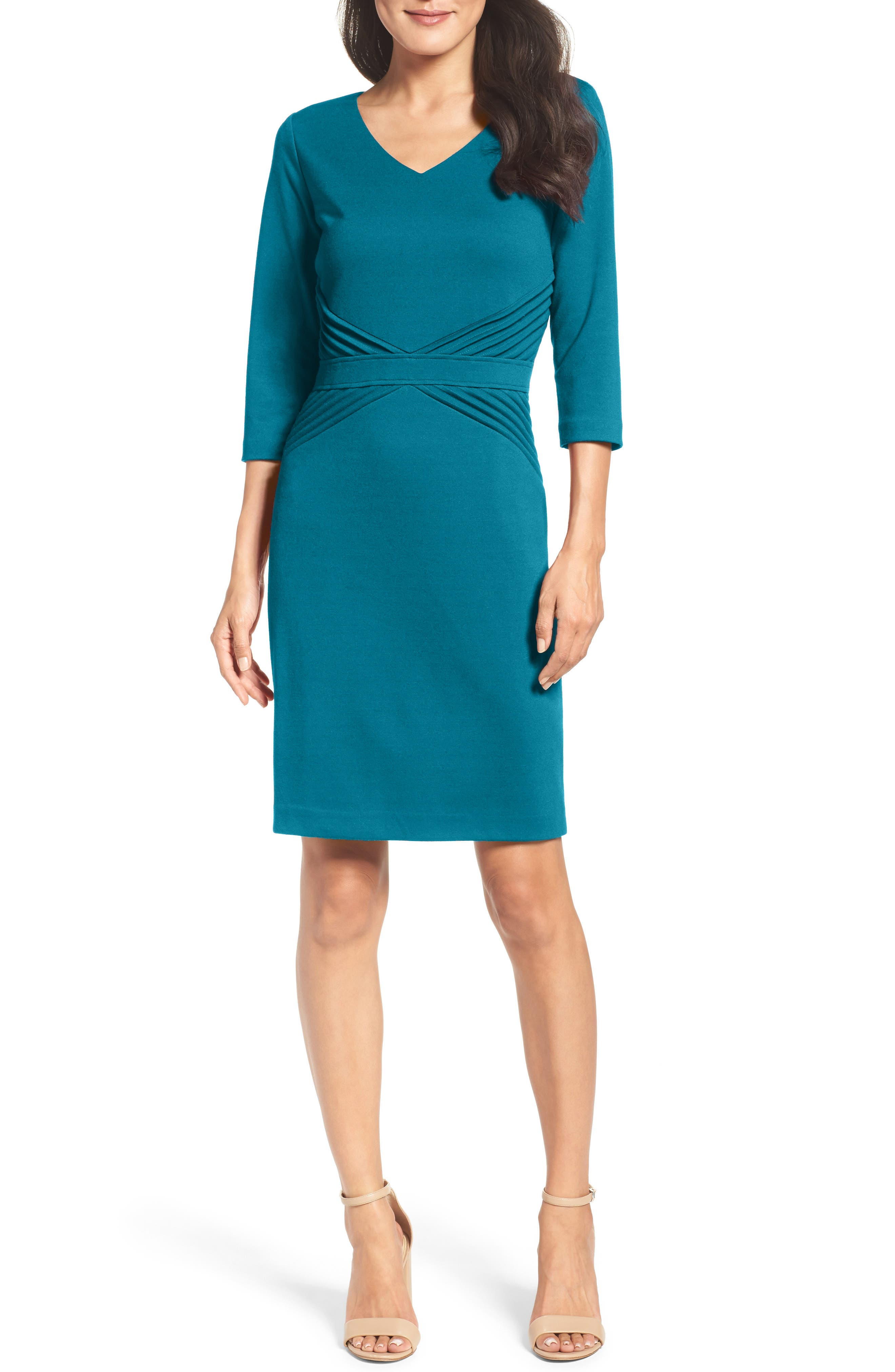Ellen Tracy Ponte Sheath Dress (Regular & Petite)