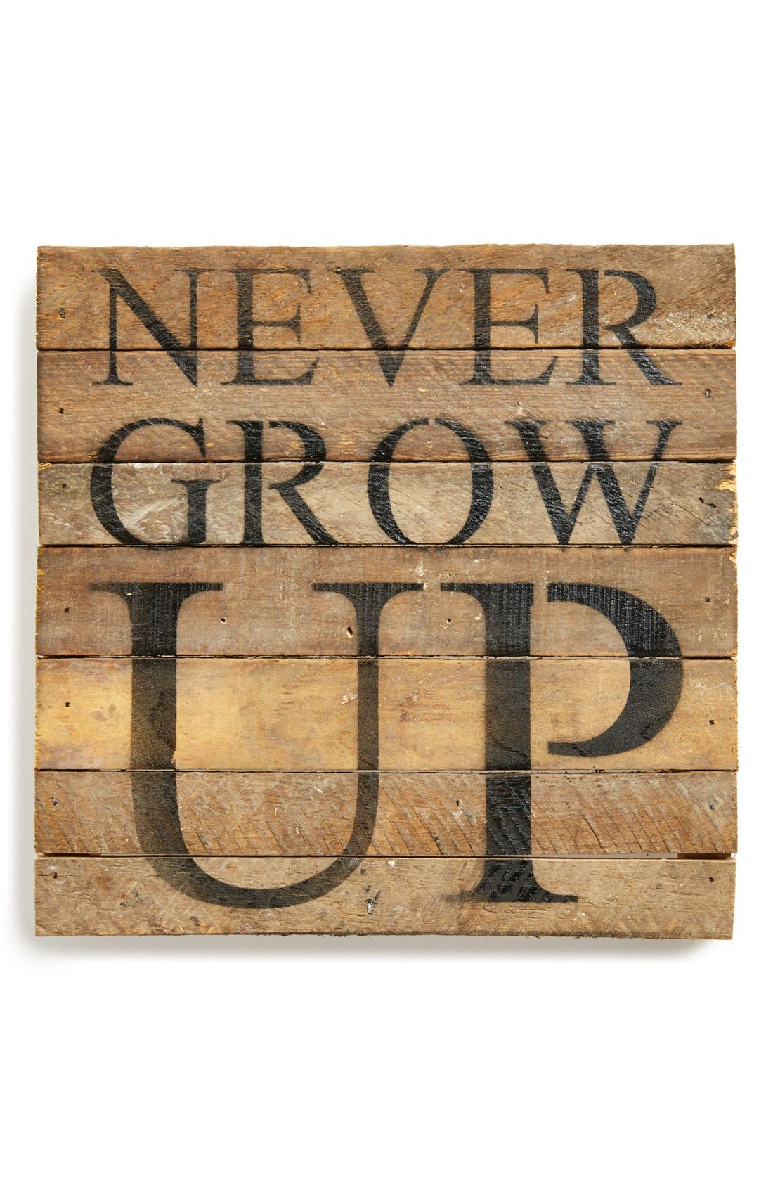 Main Image - Second Nature By Hand 'Never Grow Up' Repurposed Wood Wall Plaque