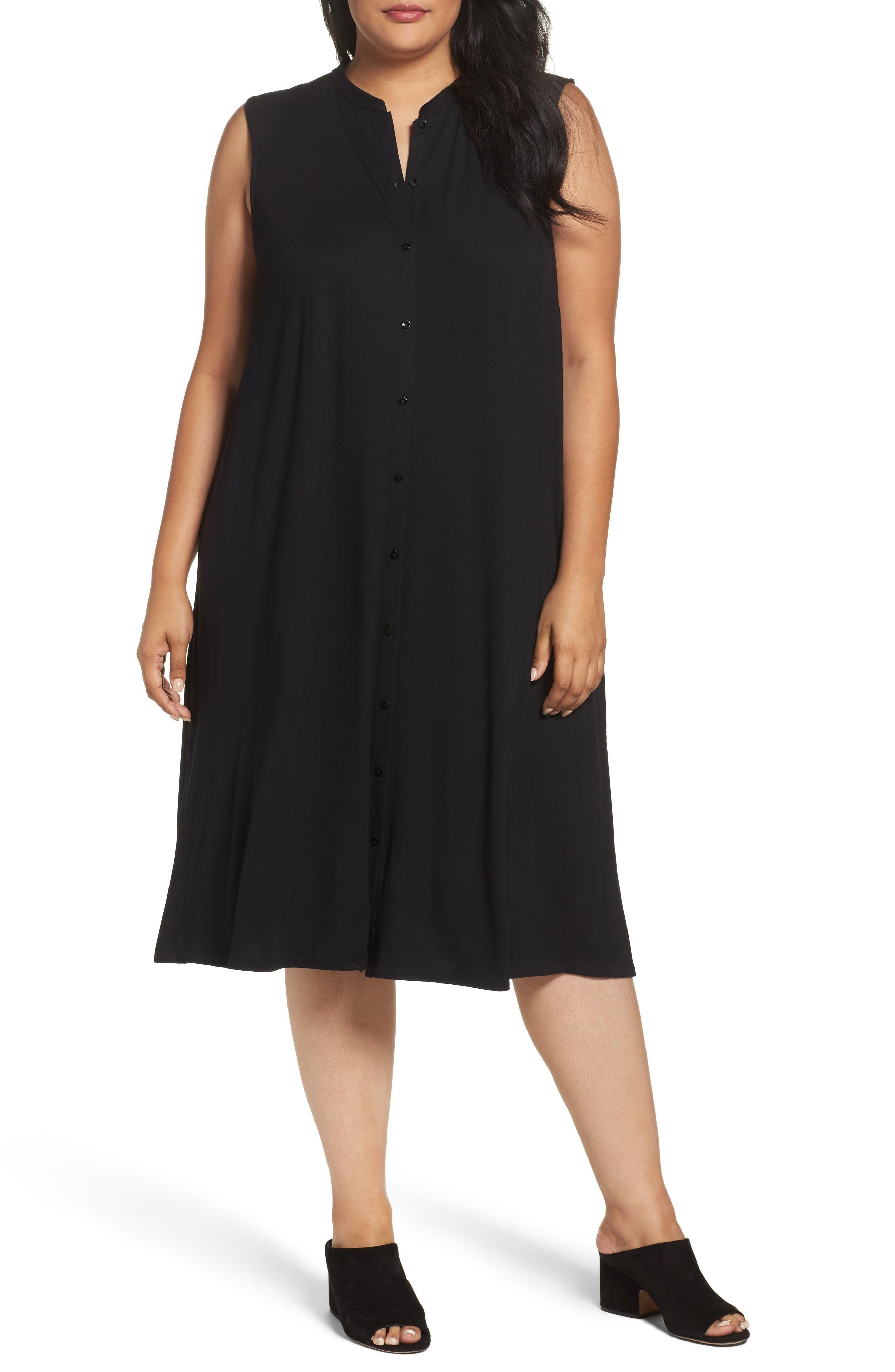 Eileen Fisher Jersey Mandarin Collar Duster Dress (Plus Size)