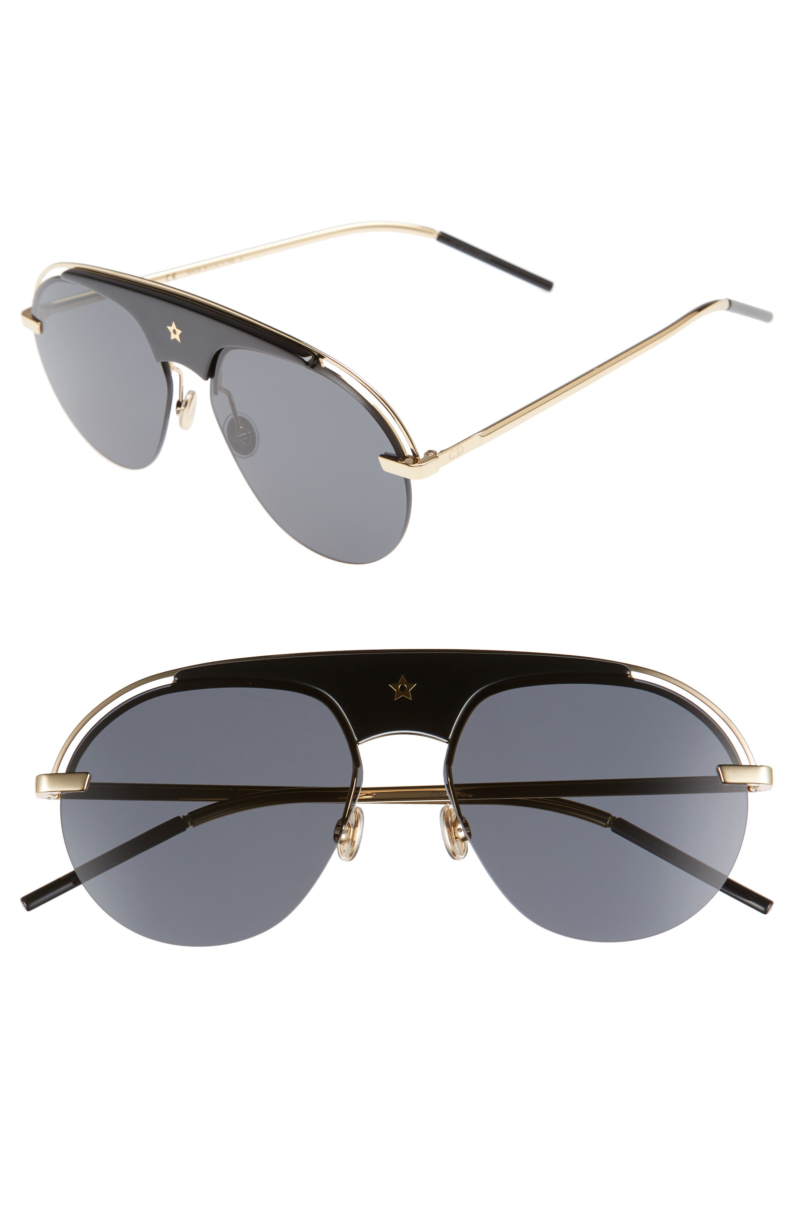 Christian Dior Revolution 58mm Aviator Sunglasses