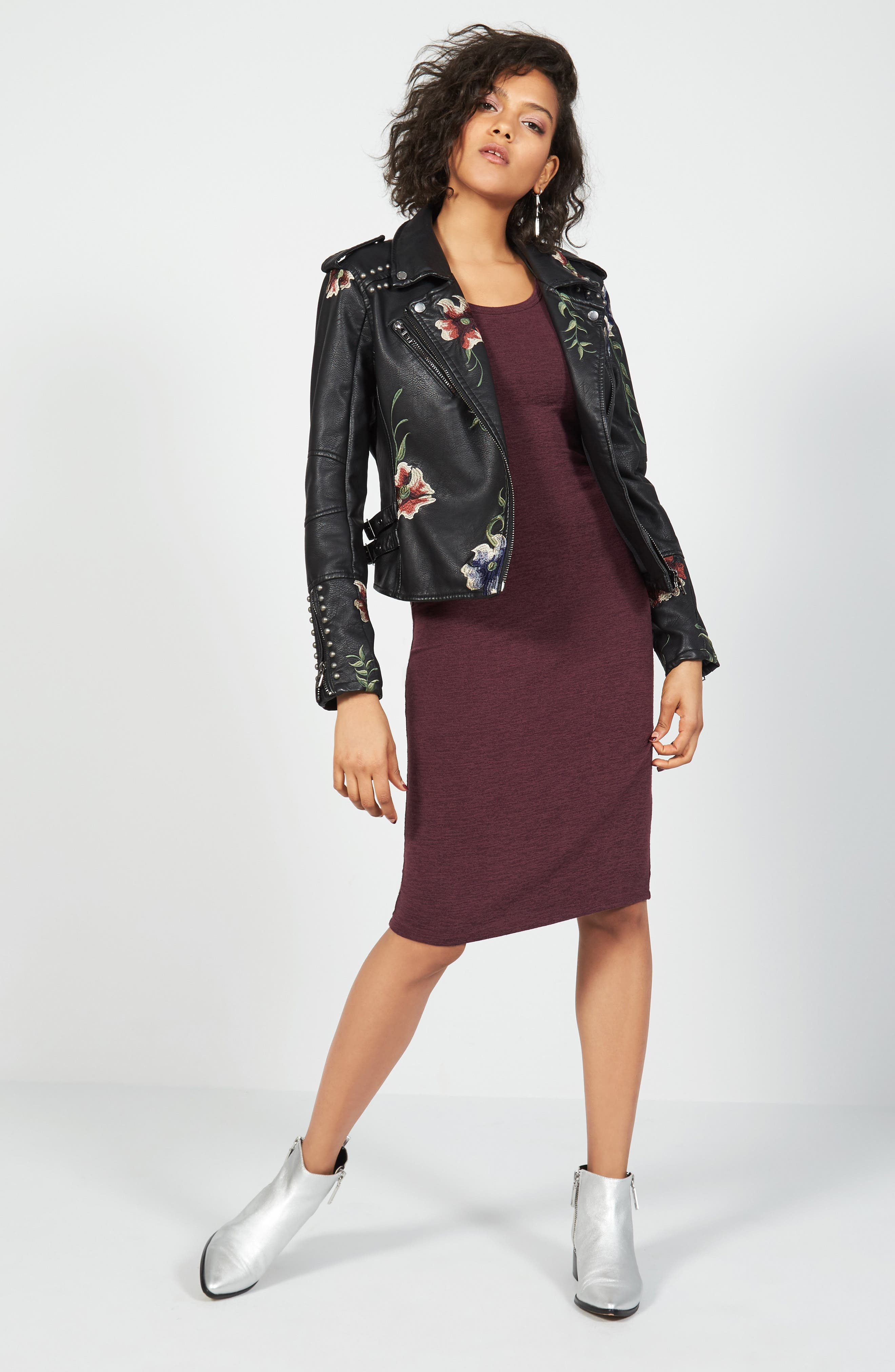 BLANKNYC Jacket & Leith Dress Outfit with Accessories
