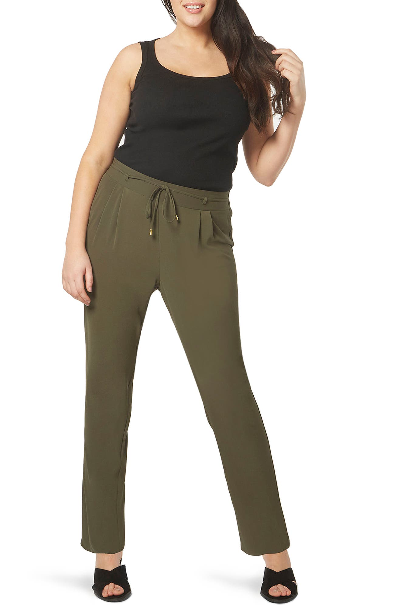 Evans Tapered Stretch Crepe Trousers (Plus Size)