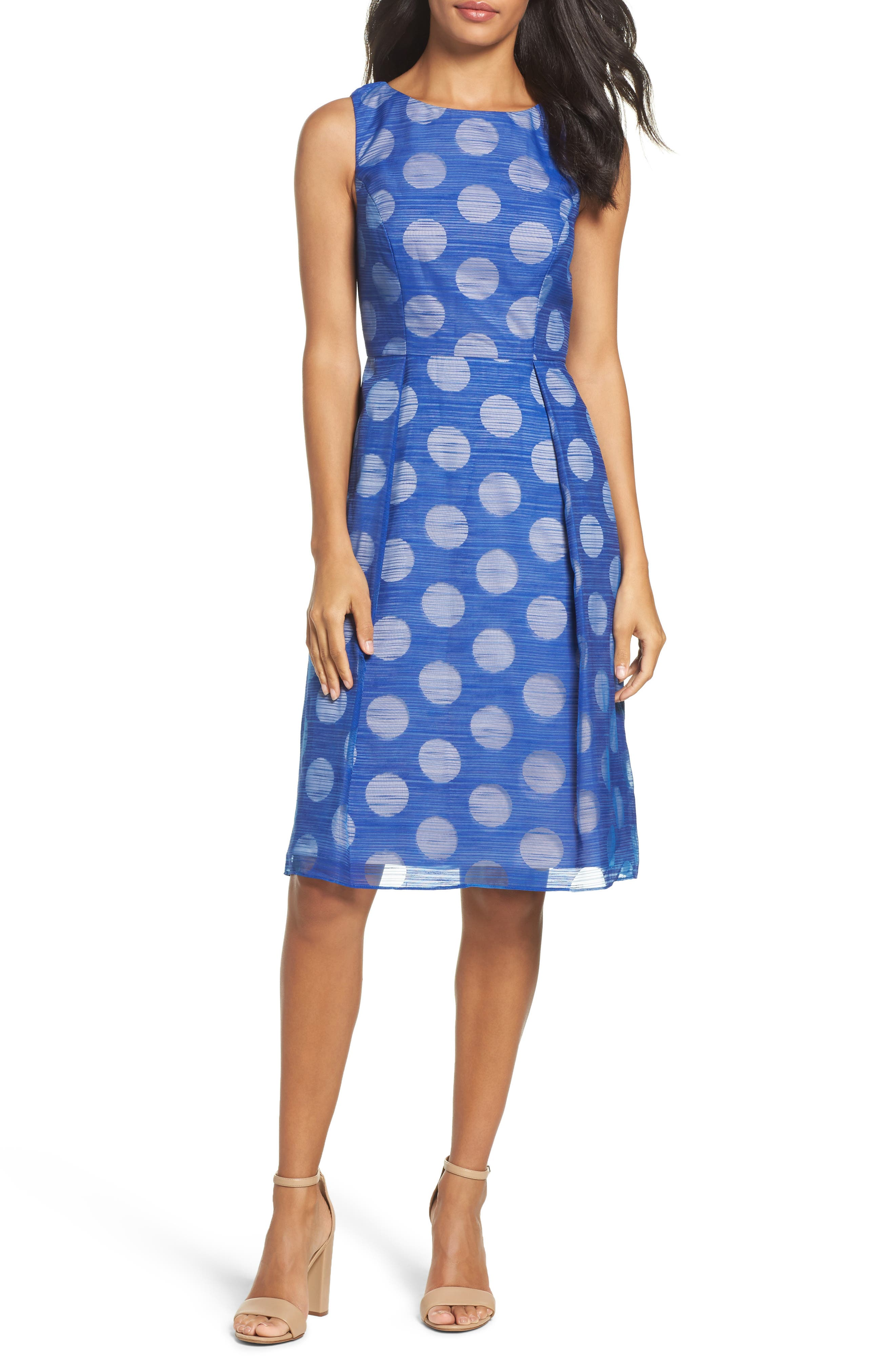 Adrianna Papell Pop Dot Fit & Flare Dress