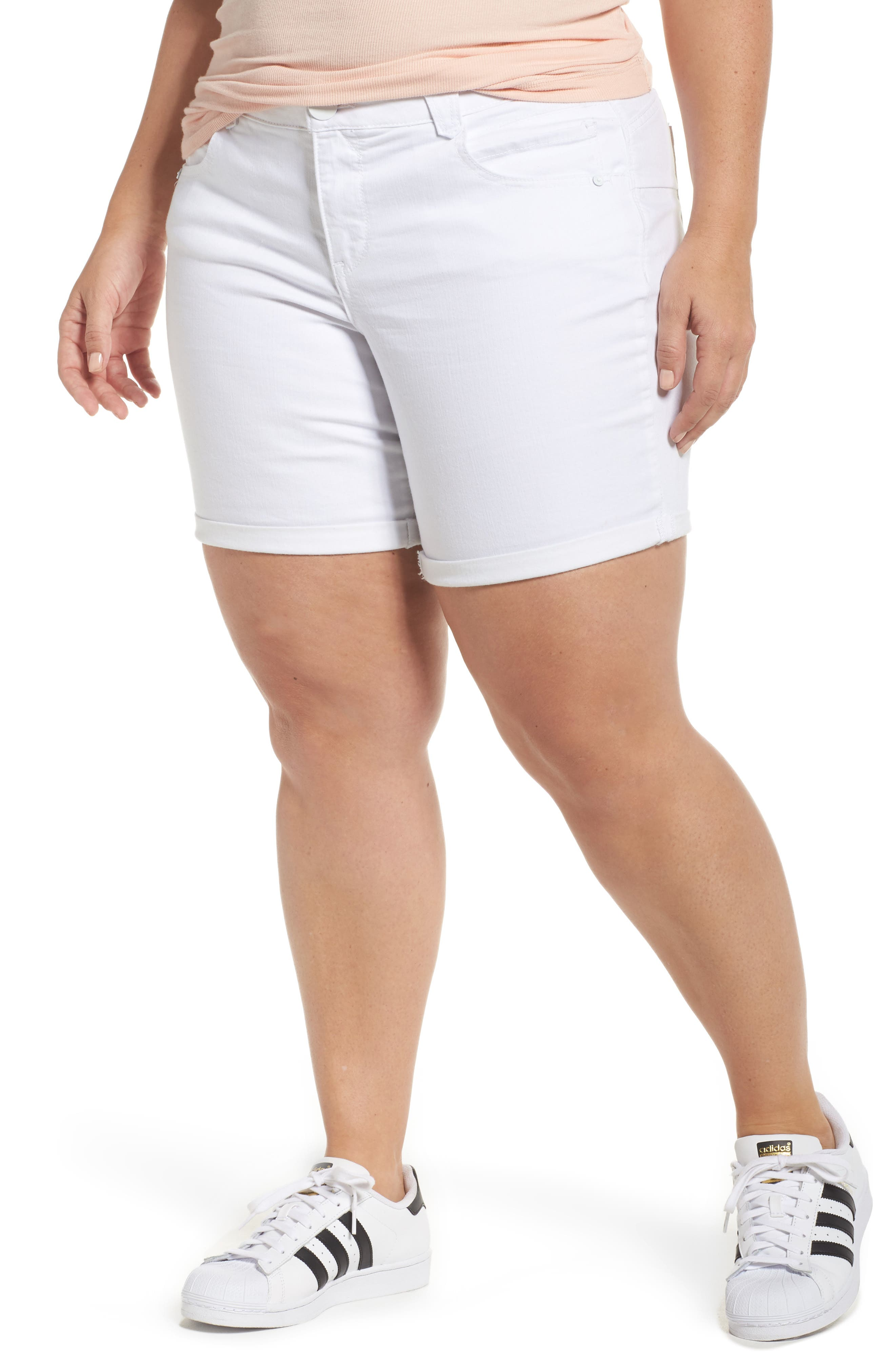 Democracy Ab-Solution Denim Shorts (Optic White) (Plus Size)
