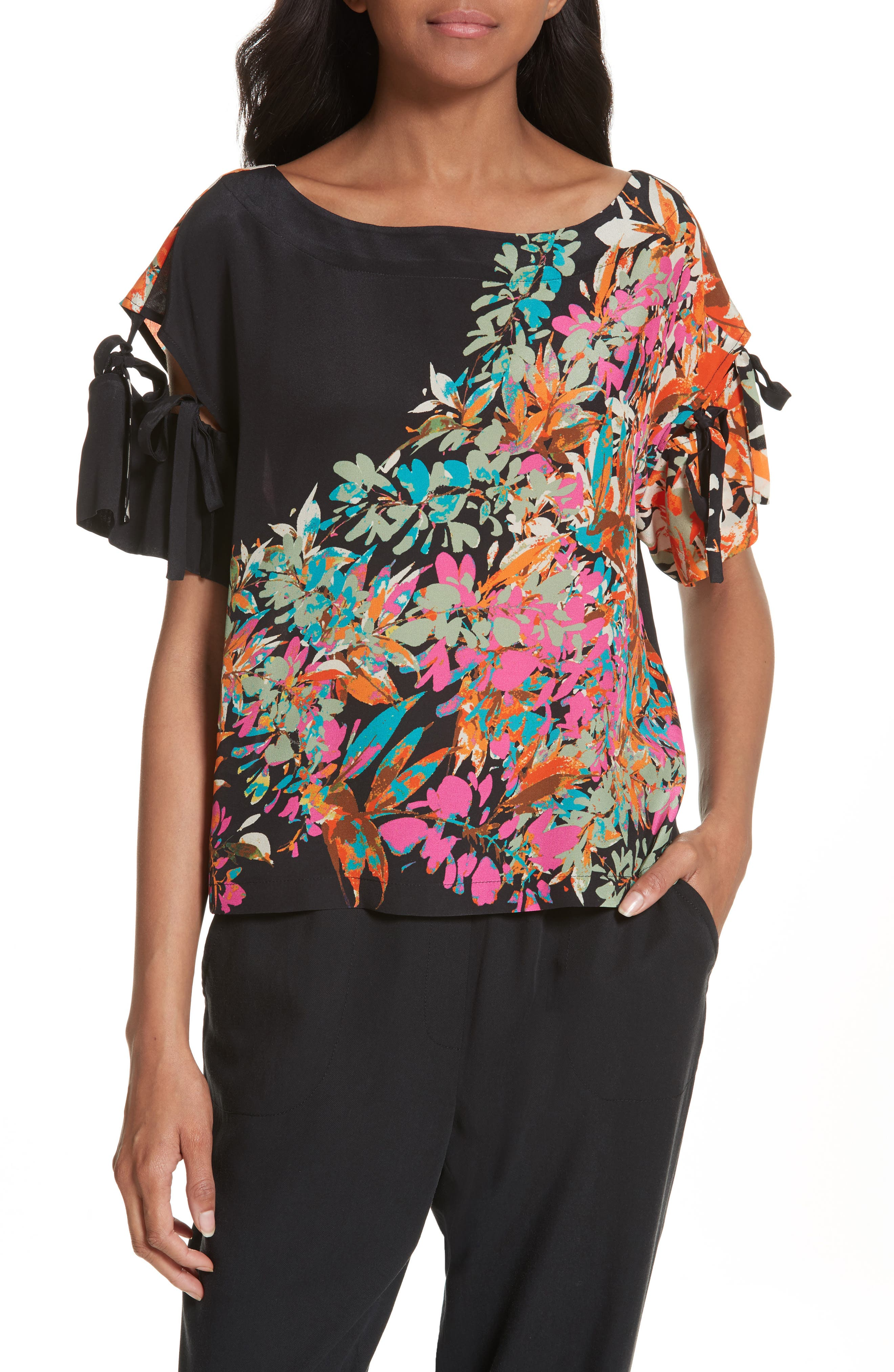 Tracy Reese Tie Sleeve Floral Silk Top