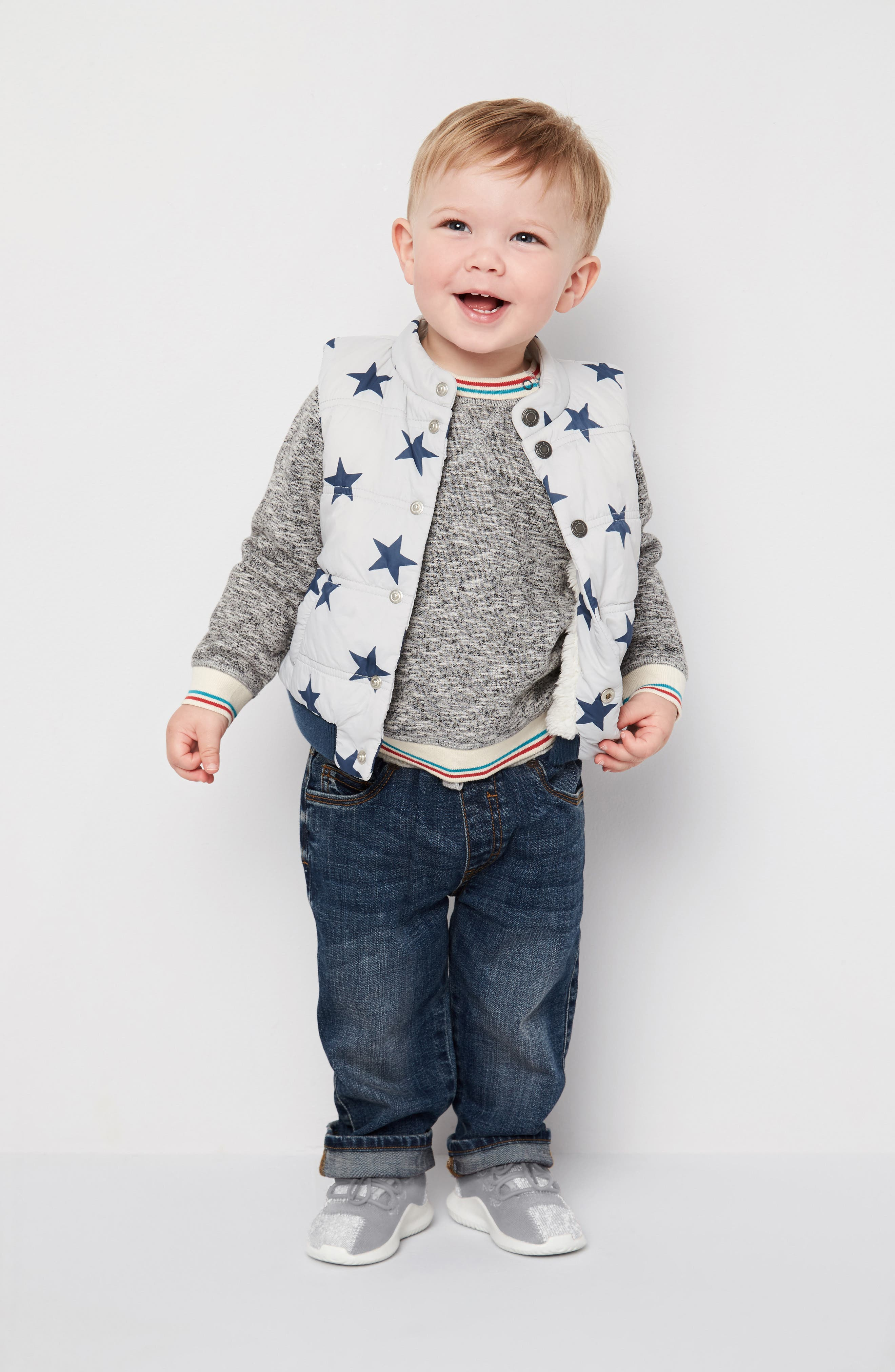 Tucker + Tate Sweatshirt, Vest & Jeans Outfit with Accessories (Baby Boys)