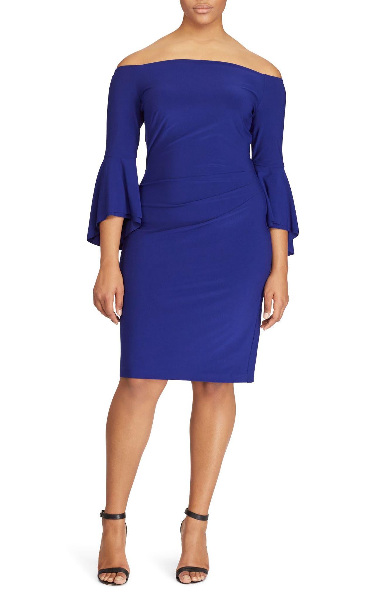 Lauren Ralph Lauren Bell Sleeve Off the Shoulder Dress (Plus Size)