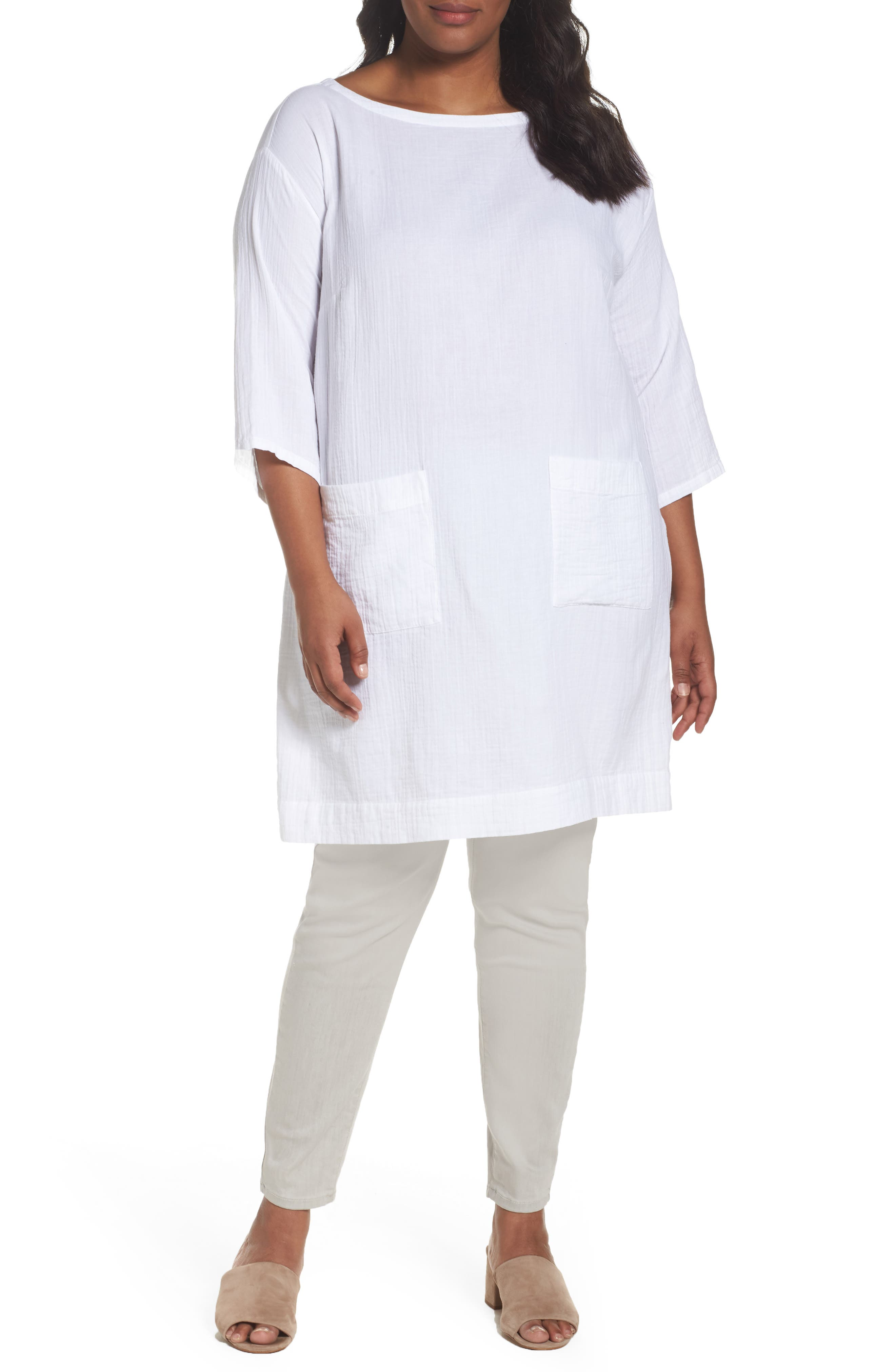 Eileen Fisher Organic Cotton Gauze Tunic (Plus Size)