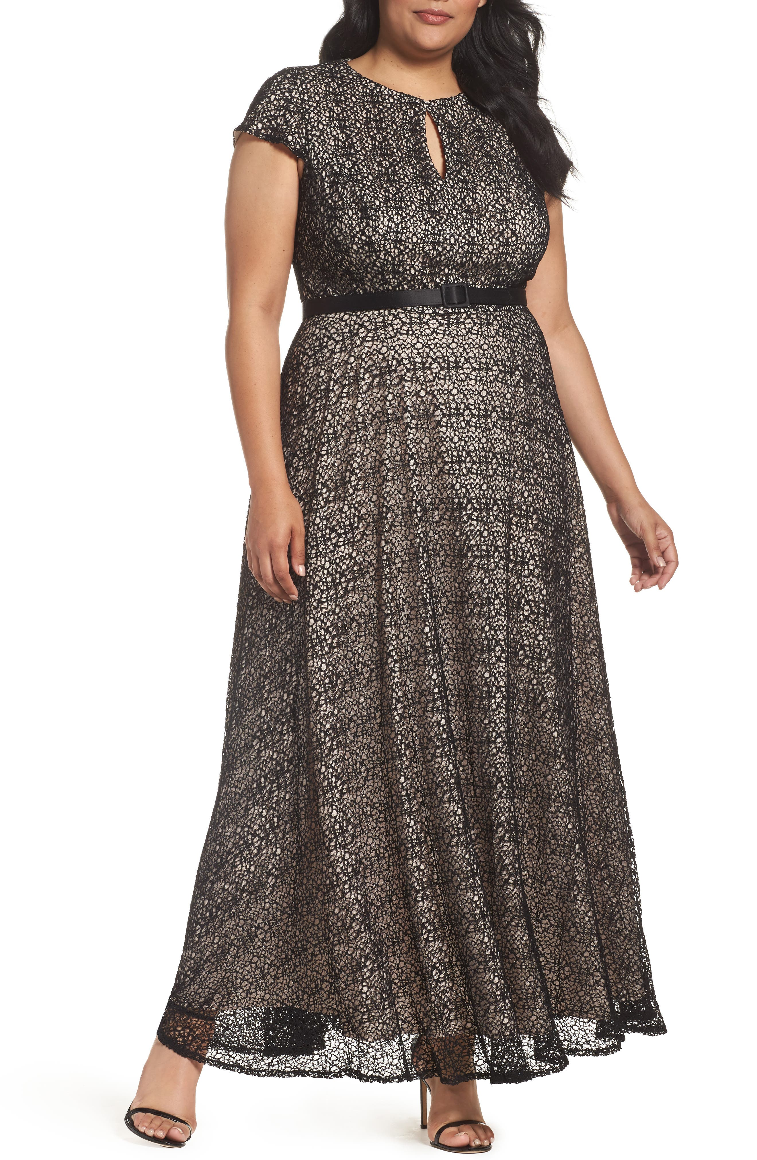 Alex Evenings Belted Lace Keyhole Gown (Plus Size)
