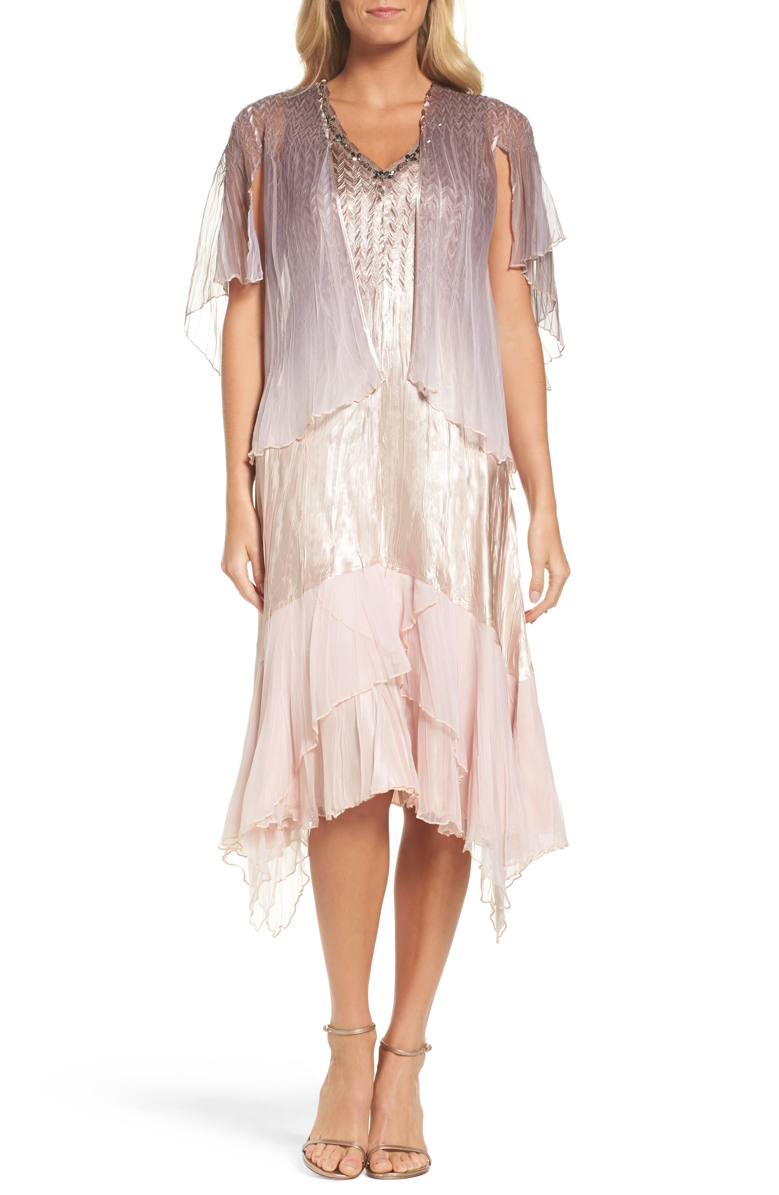 Komarov Embellished Dress & Capelet (Regular & Petite)