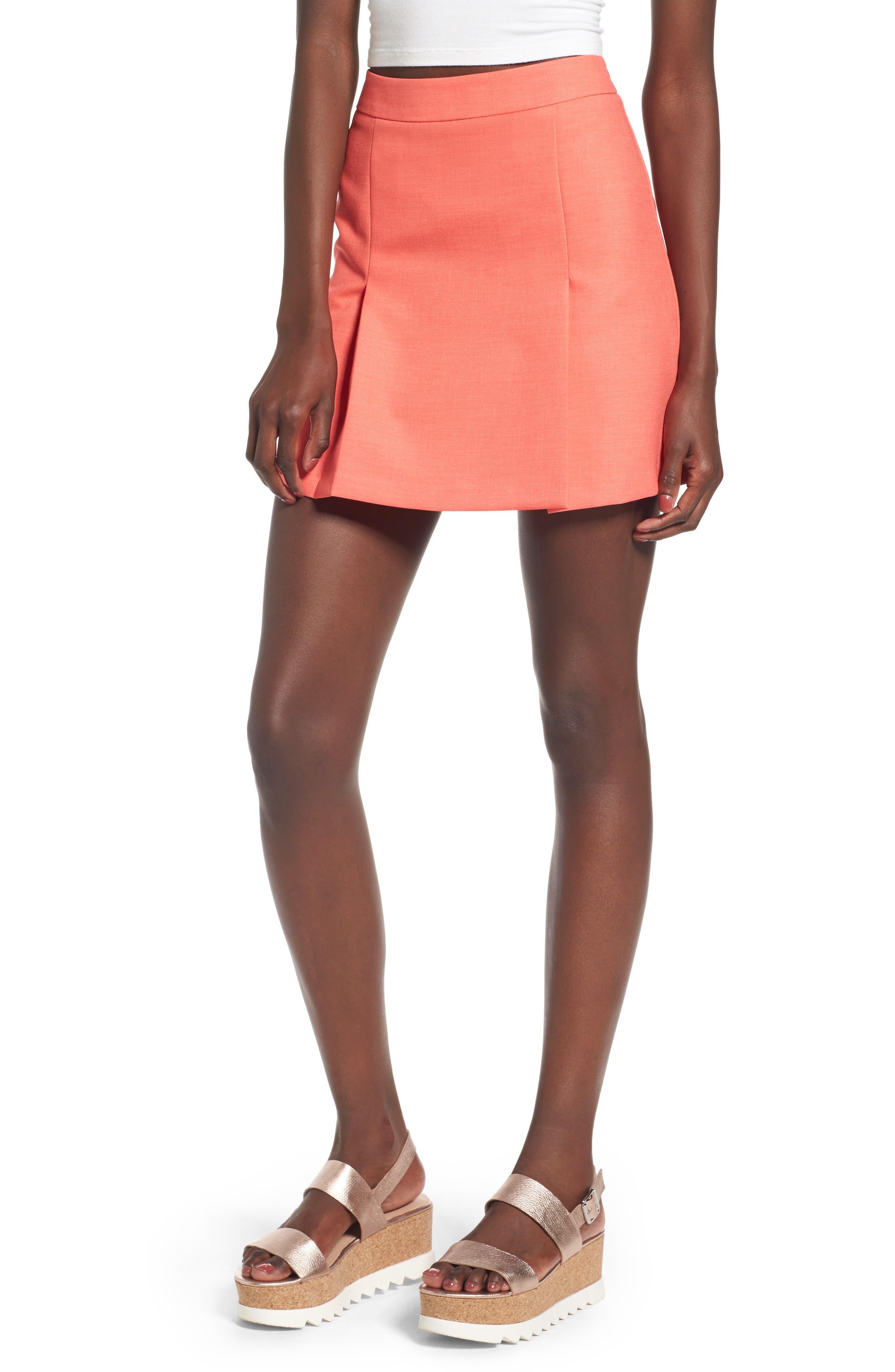 Topshop Pleat Miniskirt