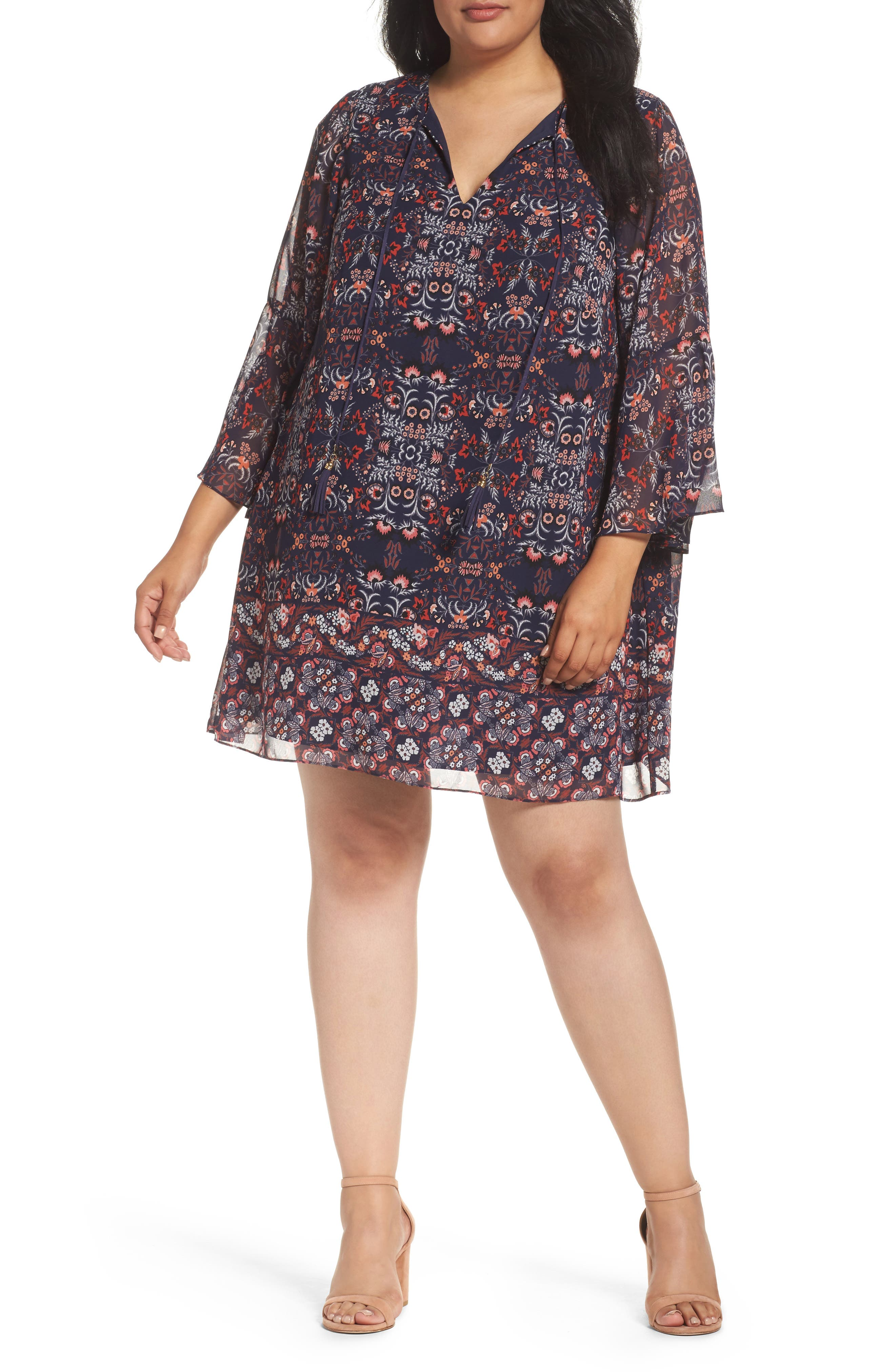 Vince Camuto Print Chiffon Shift Dress (Plus Size)