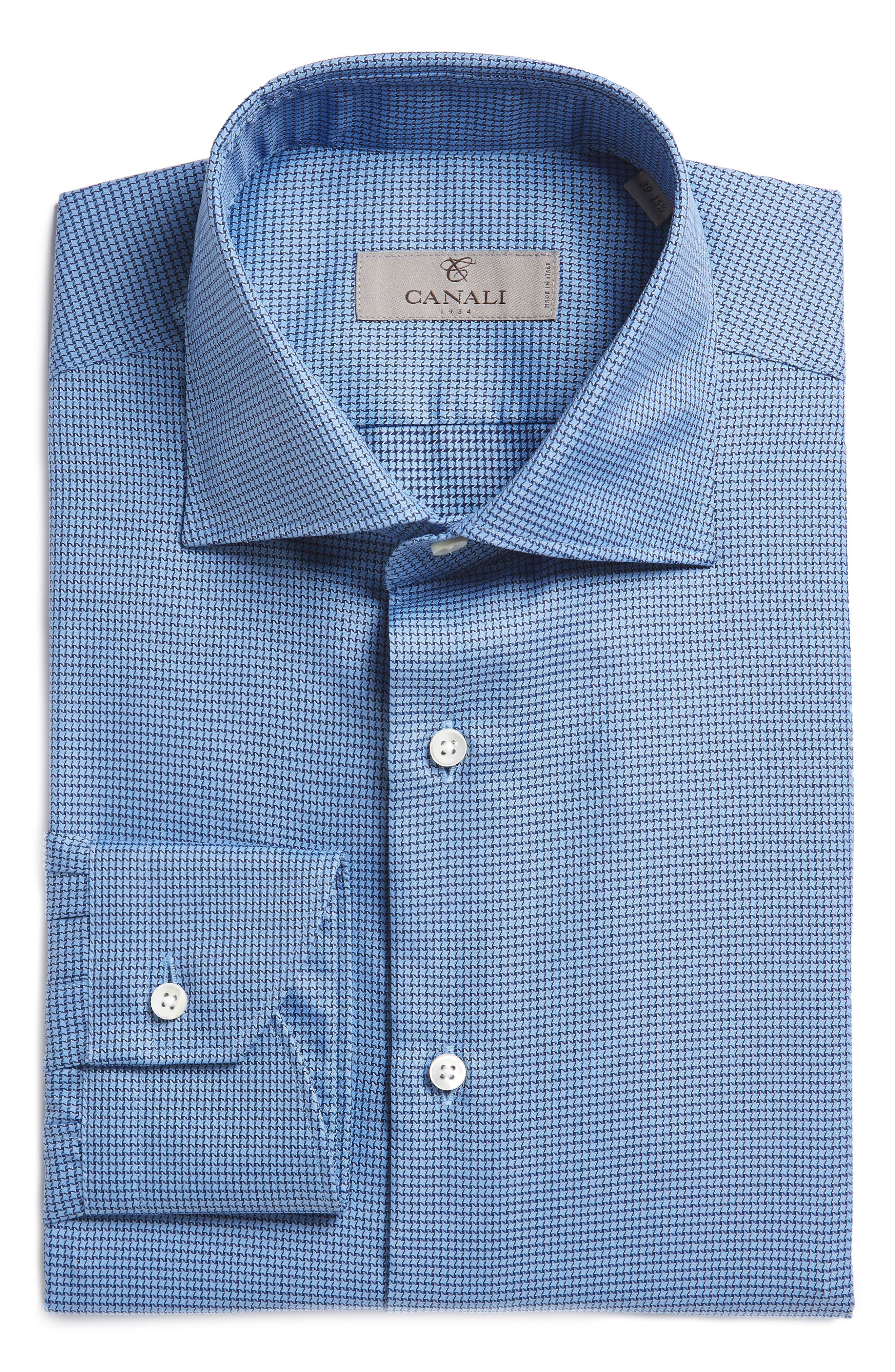 Canali Regular Fit Houndstooth Dress Shirt