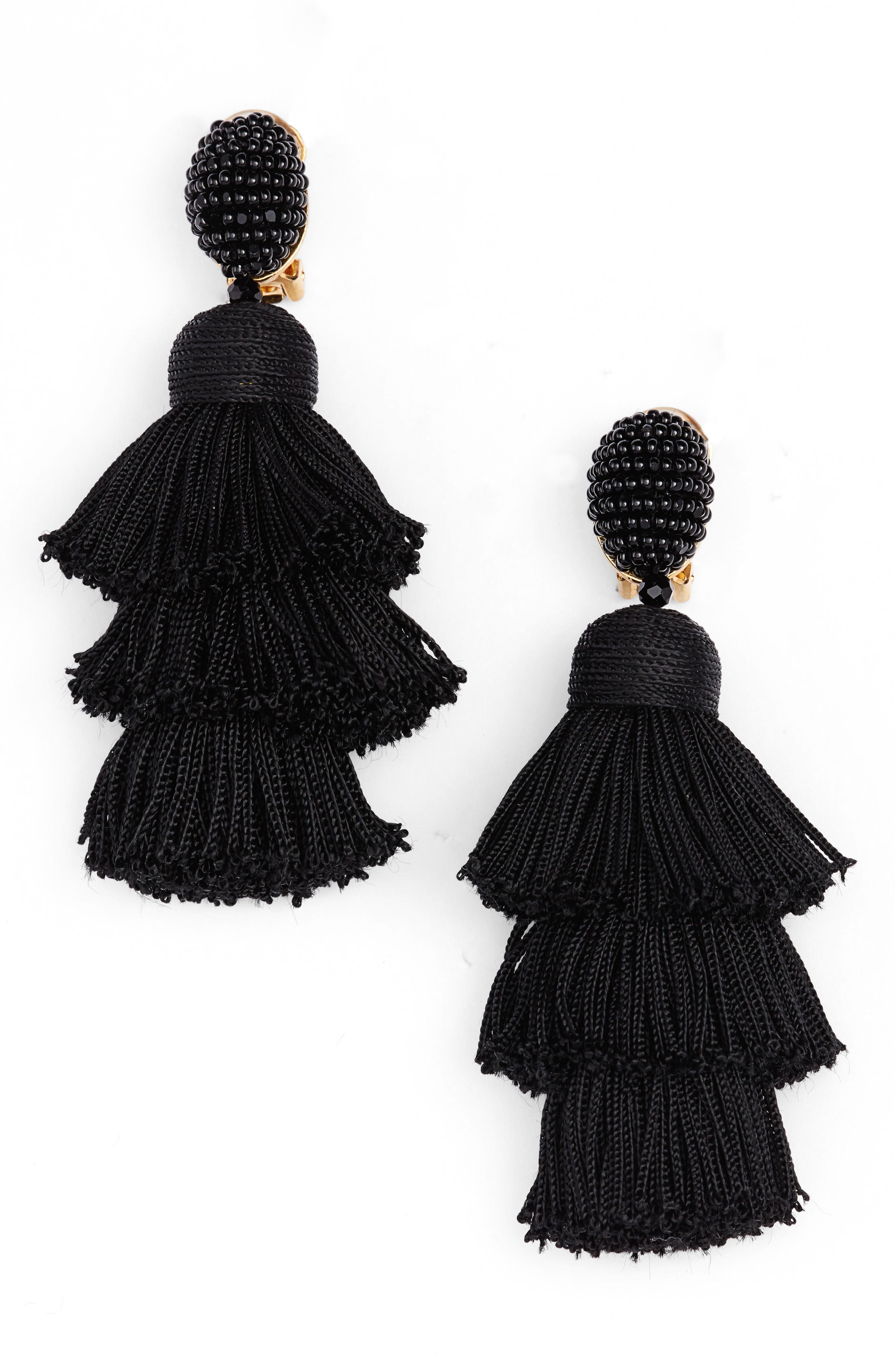 Oscar de la Renta Tiered Tassel Drop Earrings