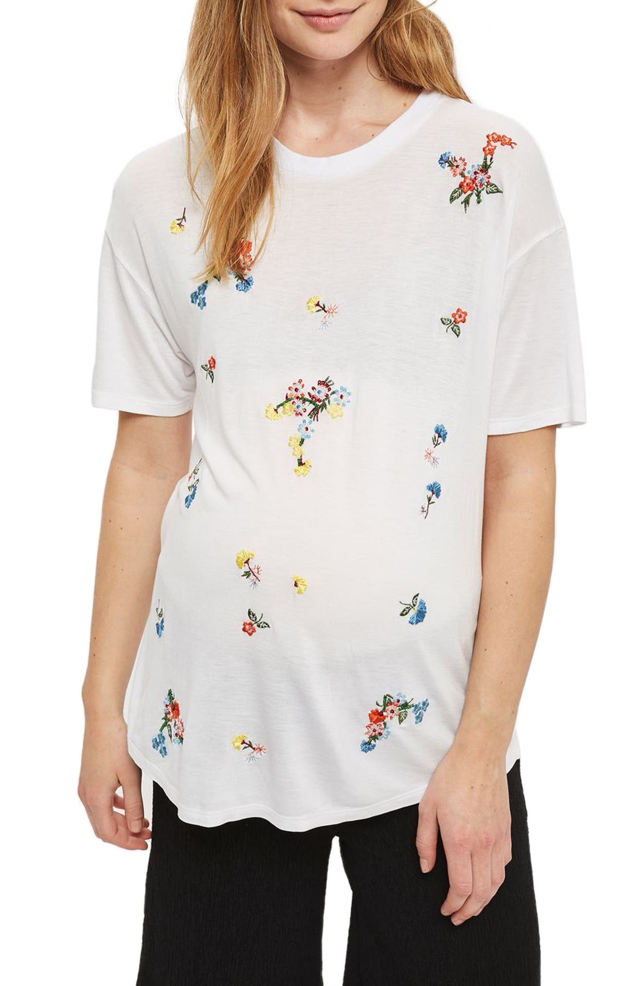 Topshop Floral Embroidered Maternity Tee