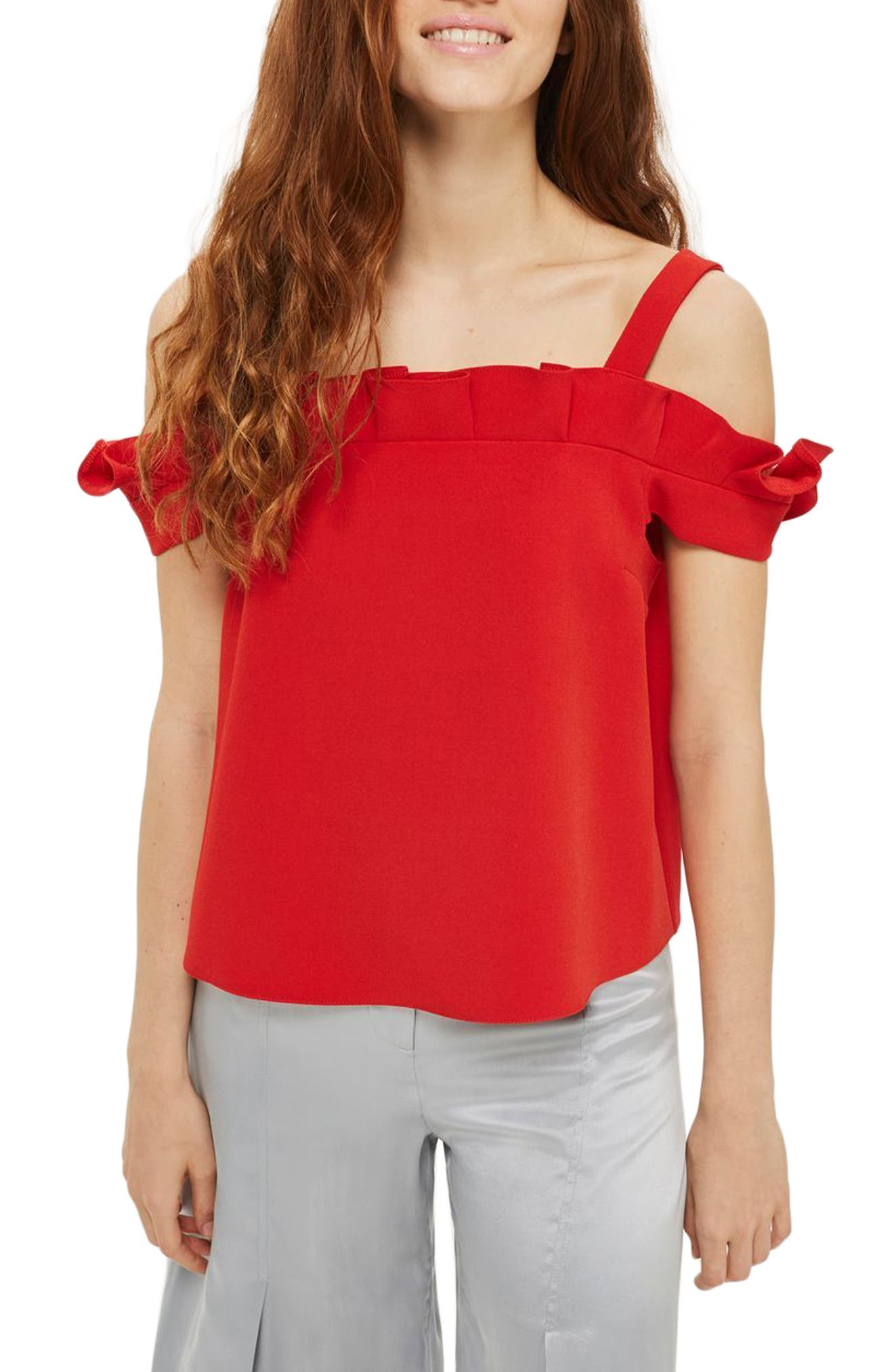 Topshop Bardot Pleat Ruffle Top