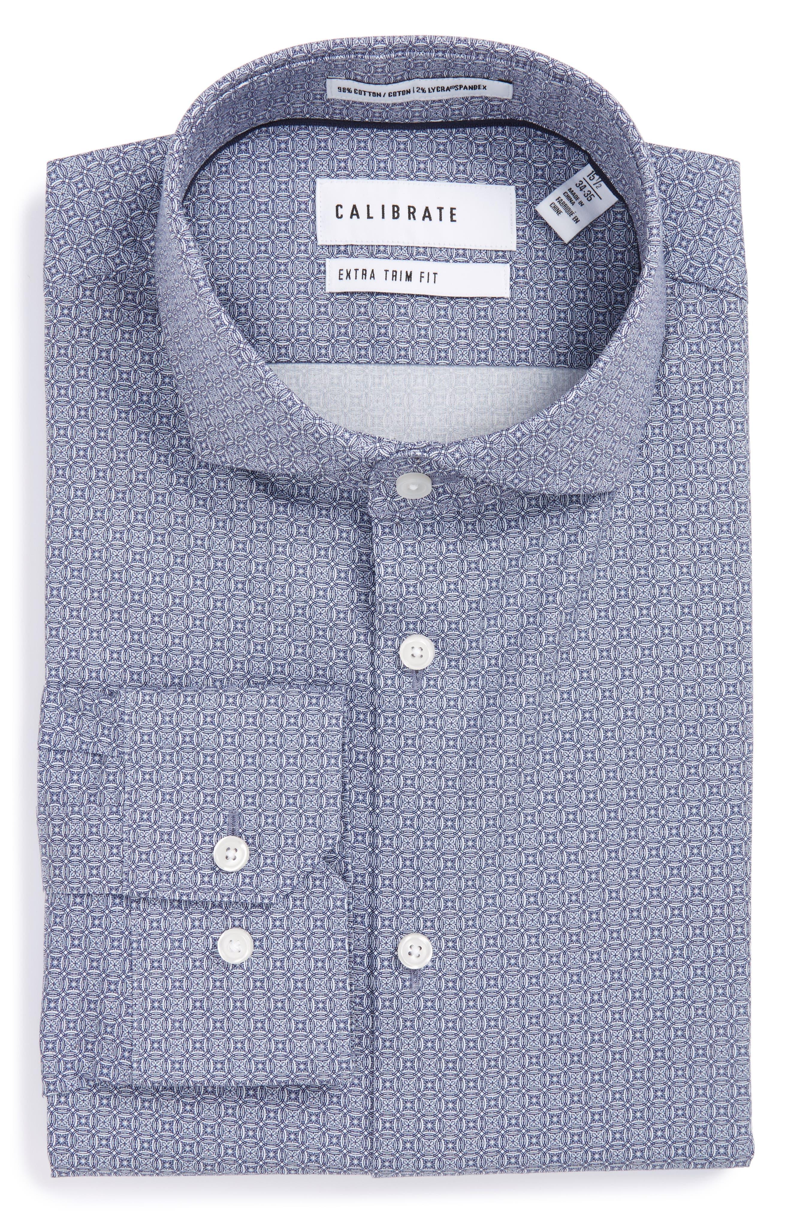 Calibrate Extra Trim Fit Print Stretch Dress Shirt