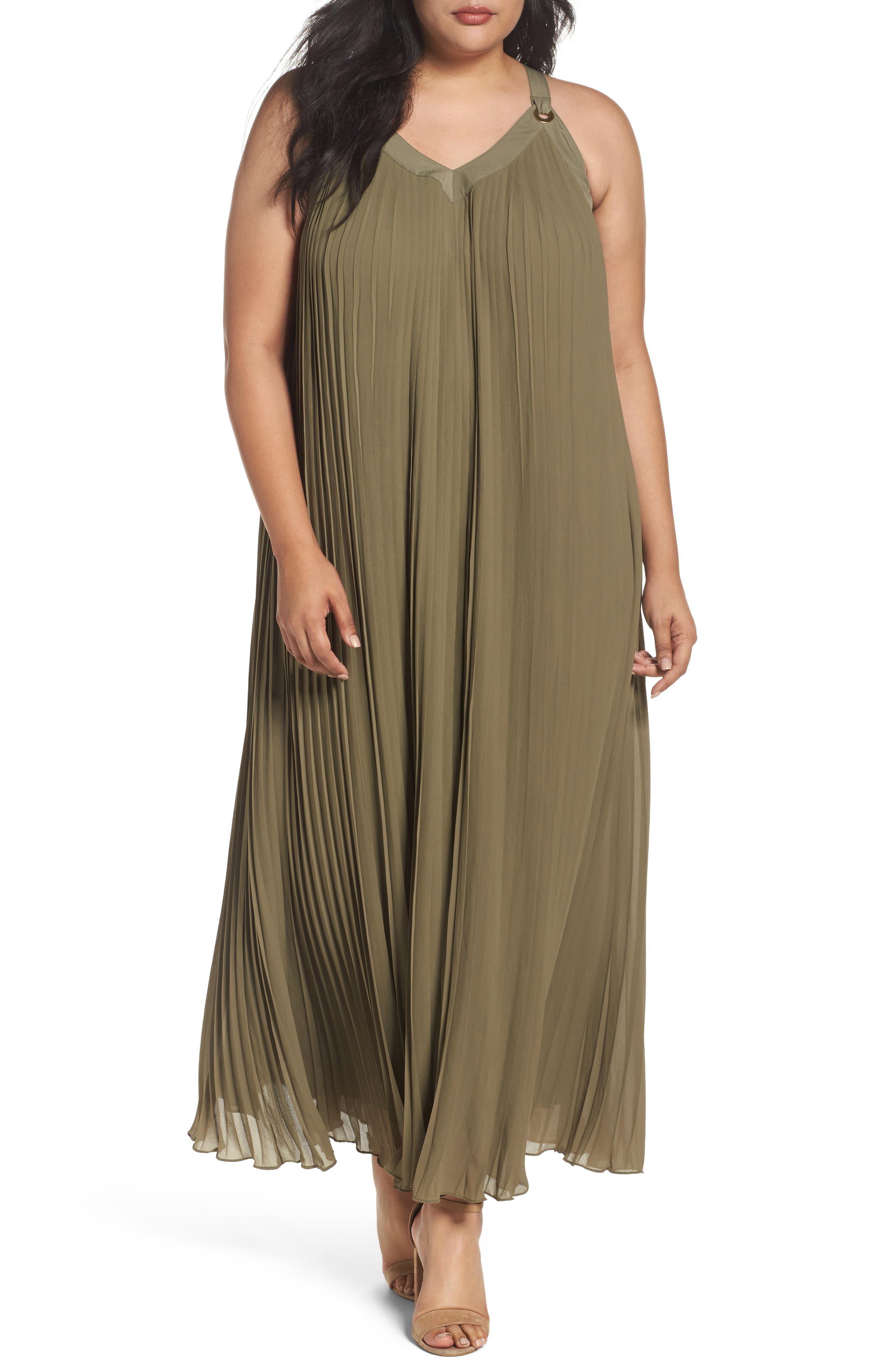 MICHAEL Michael Kors Pleat Grommet Maxi Dress (Plus Size)