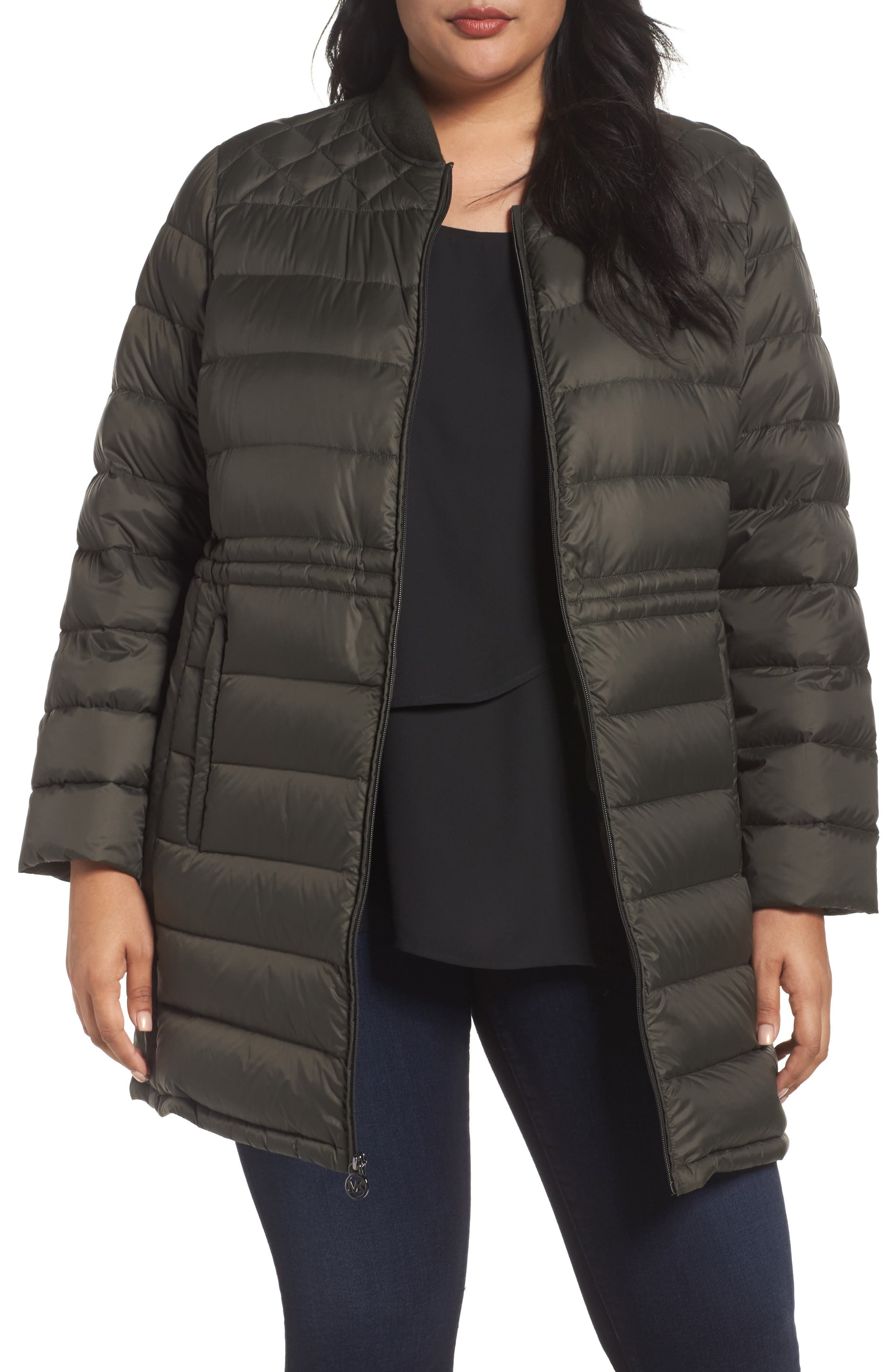 MICHAEL Michael Kors Packable Knit Trim Anorak (Plus Size)