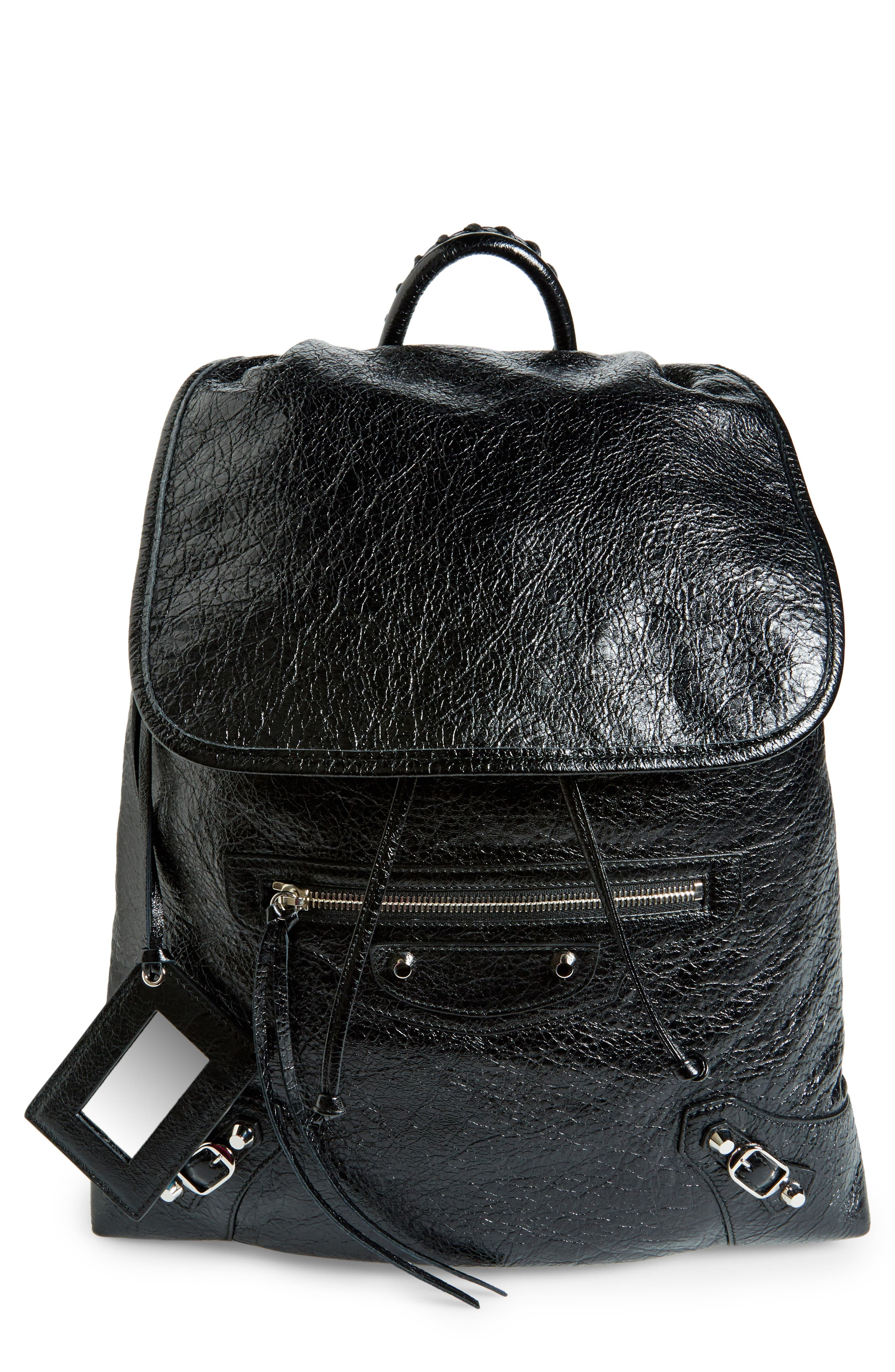 Balenciaga Small Classic Traveller Lambskin Leather Backpack
