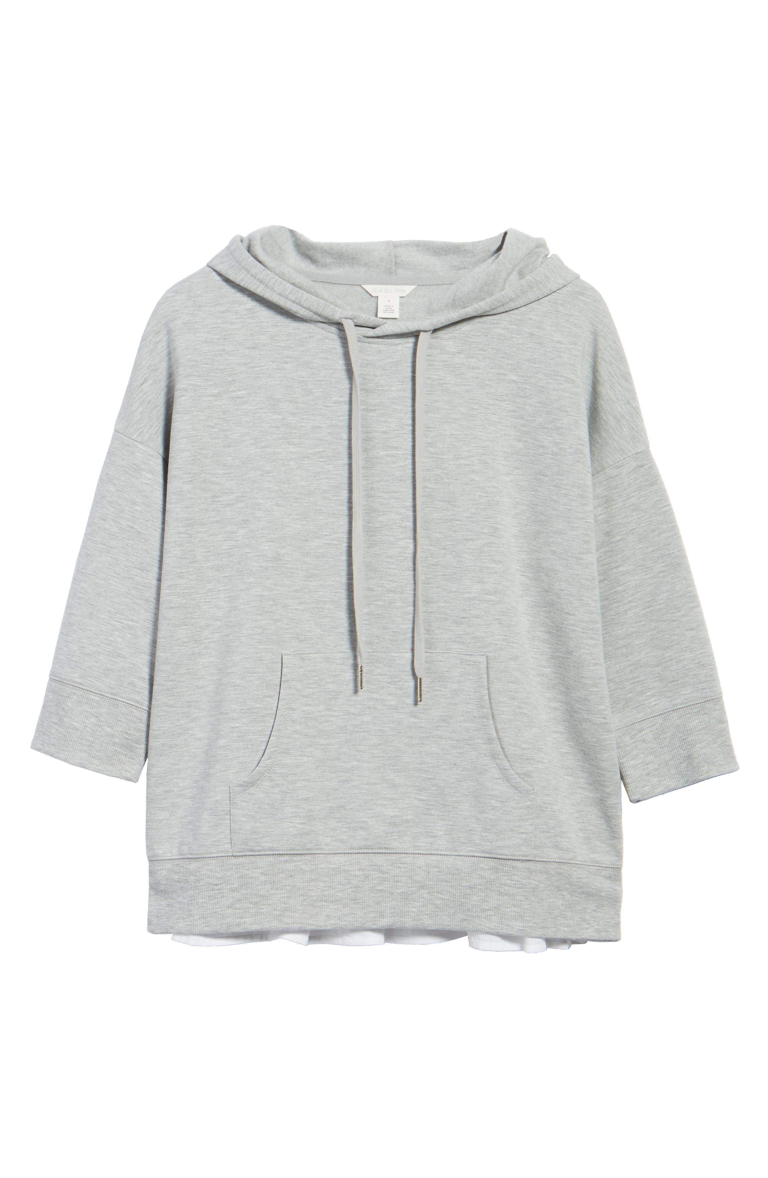 Alternate Image 6  - Caslon® Woven Inset Knit Hoodie (Regular & Petite)