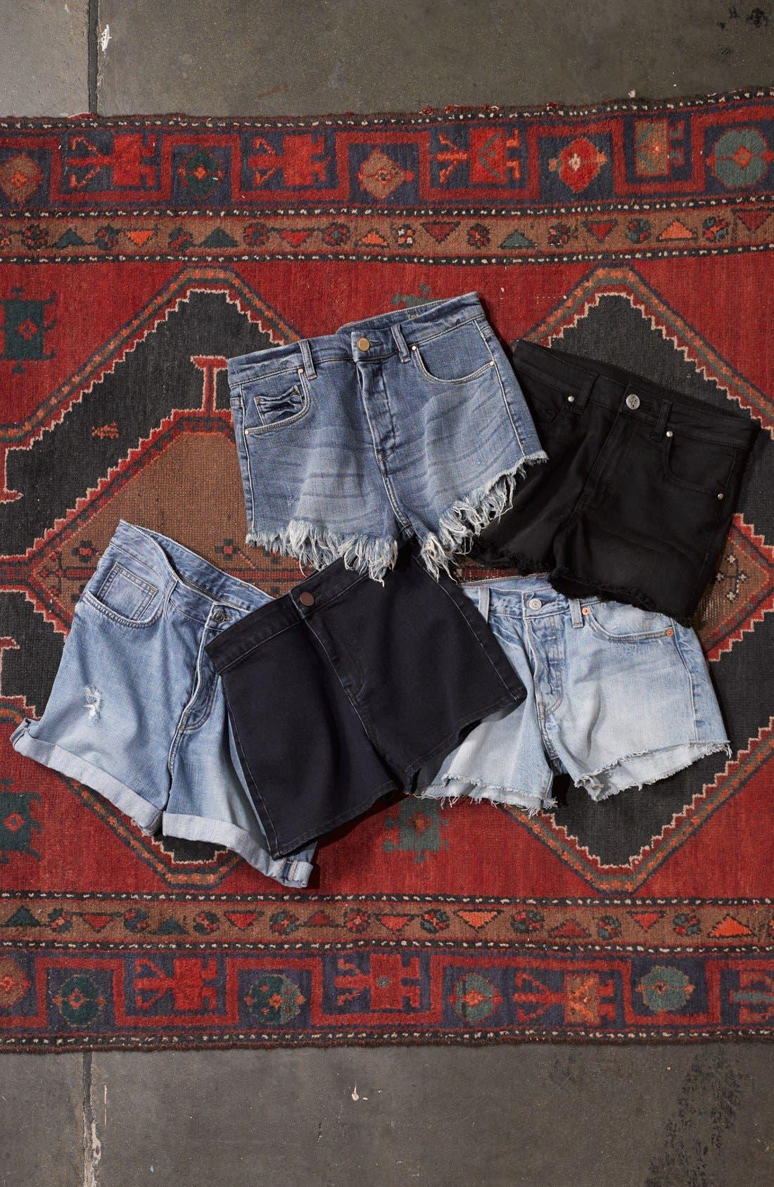 Alternate Image 4  - Fire High Rise Denim Shorts (Dark Wash) (Juniors)