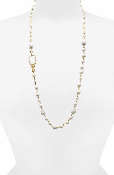 Jane Basch Long Pearl   Diamond Necklace
