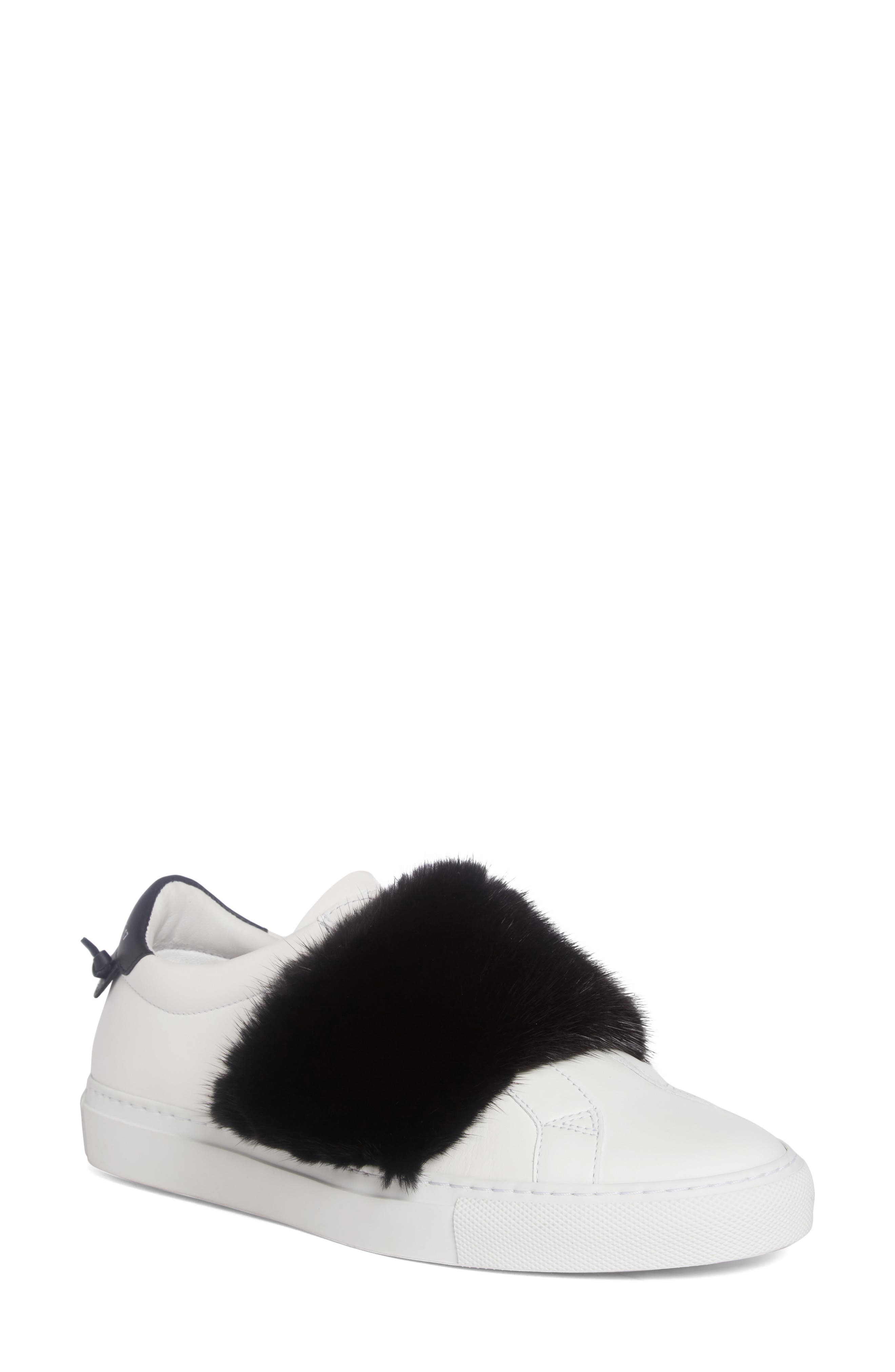 Givenchy Urban Street Slip-On Sneaker with Genuine Mink Fur Trim (Women)